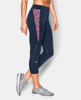 New to Outlet Women's UA HeatGear® Armour Print Inset Crop  1 Color $33.99