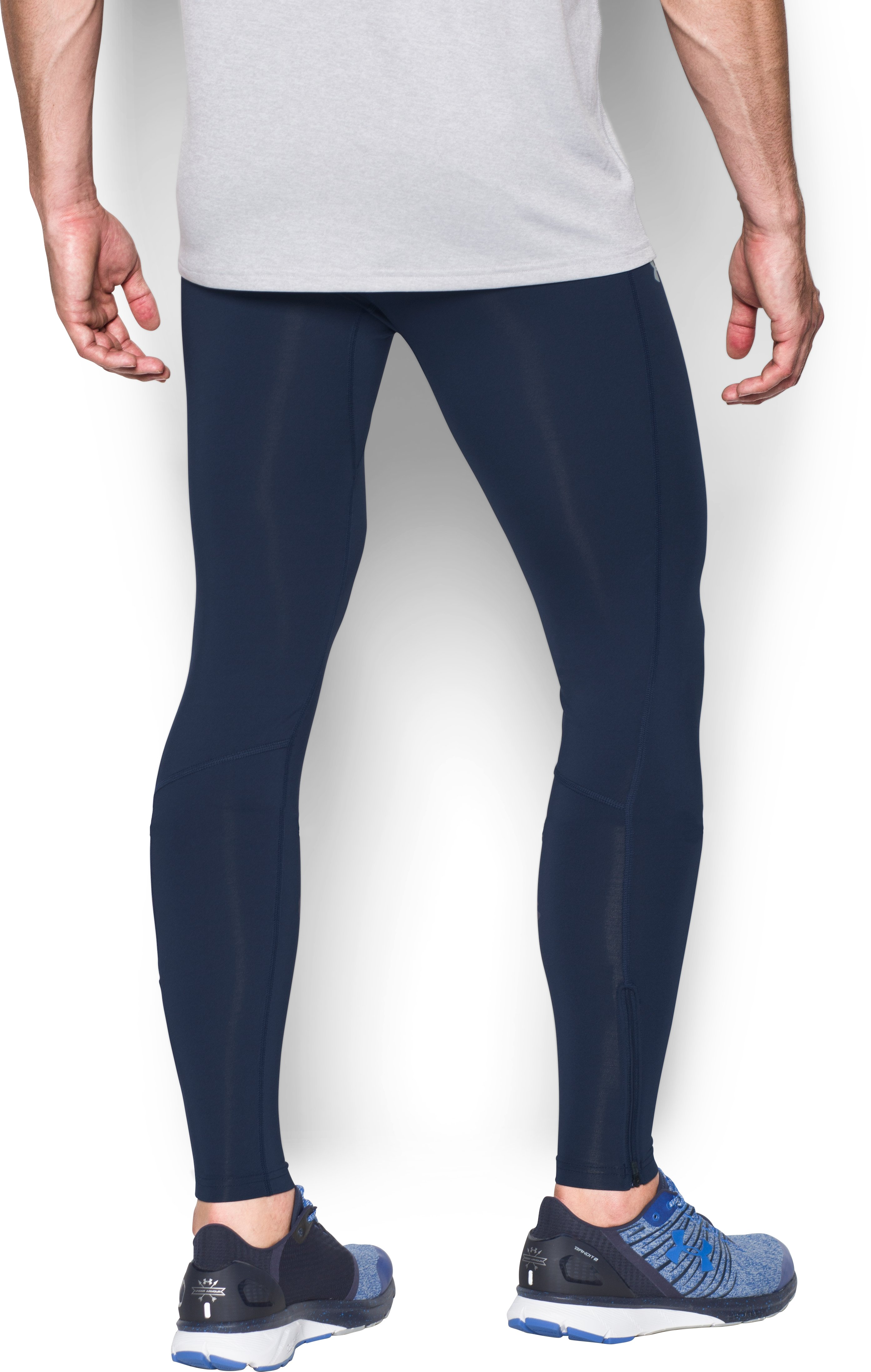 Men's UA No Breaks Run Leggings, Midnight Navy,