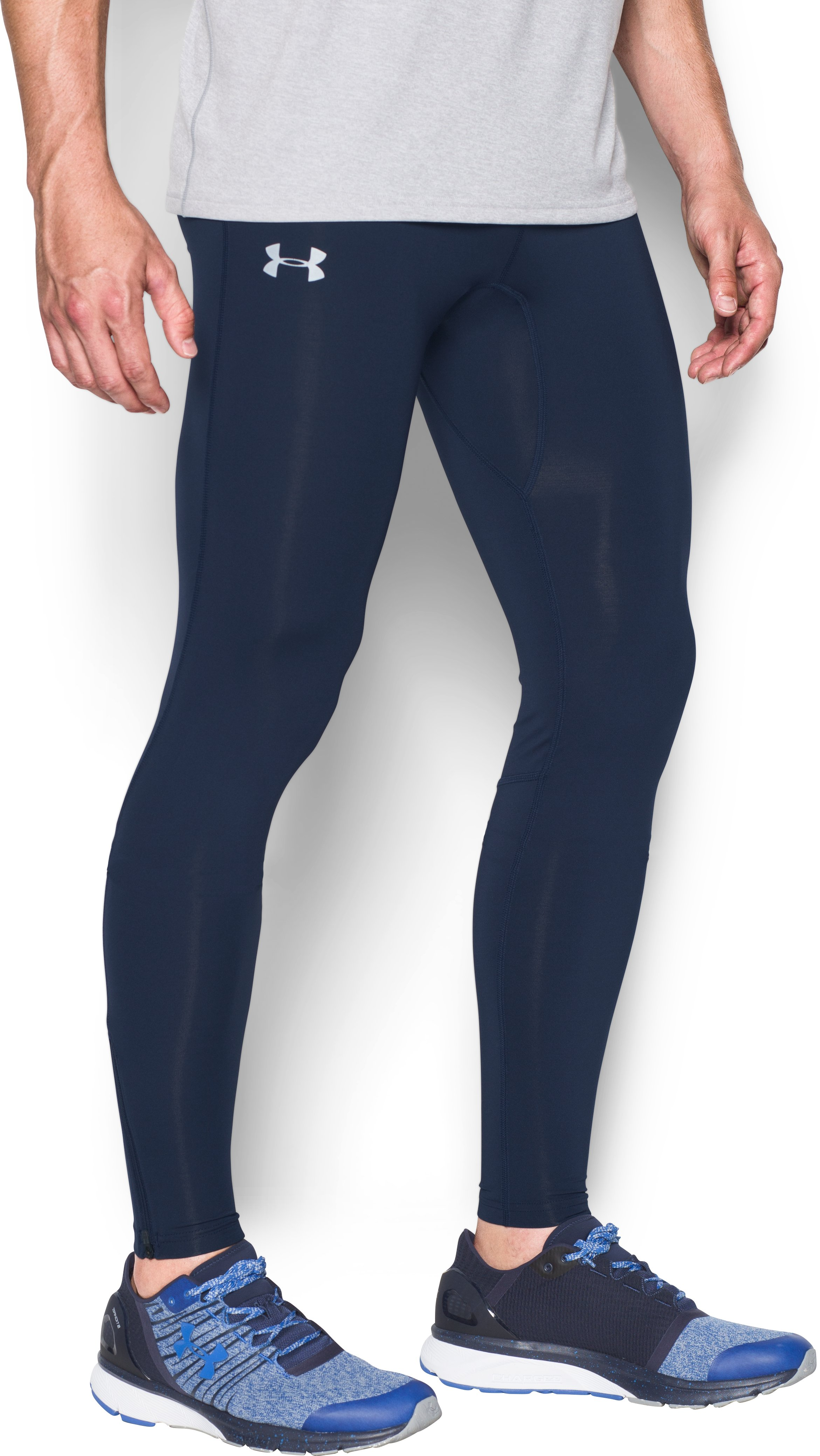 Men's UA No Breaks Run Leggings, Midnight Navy