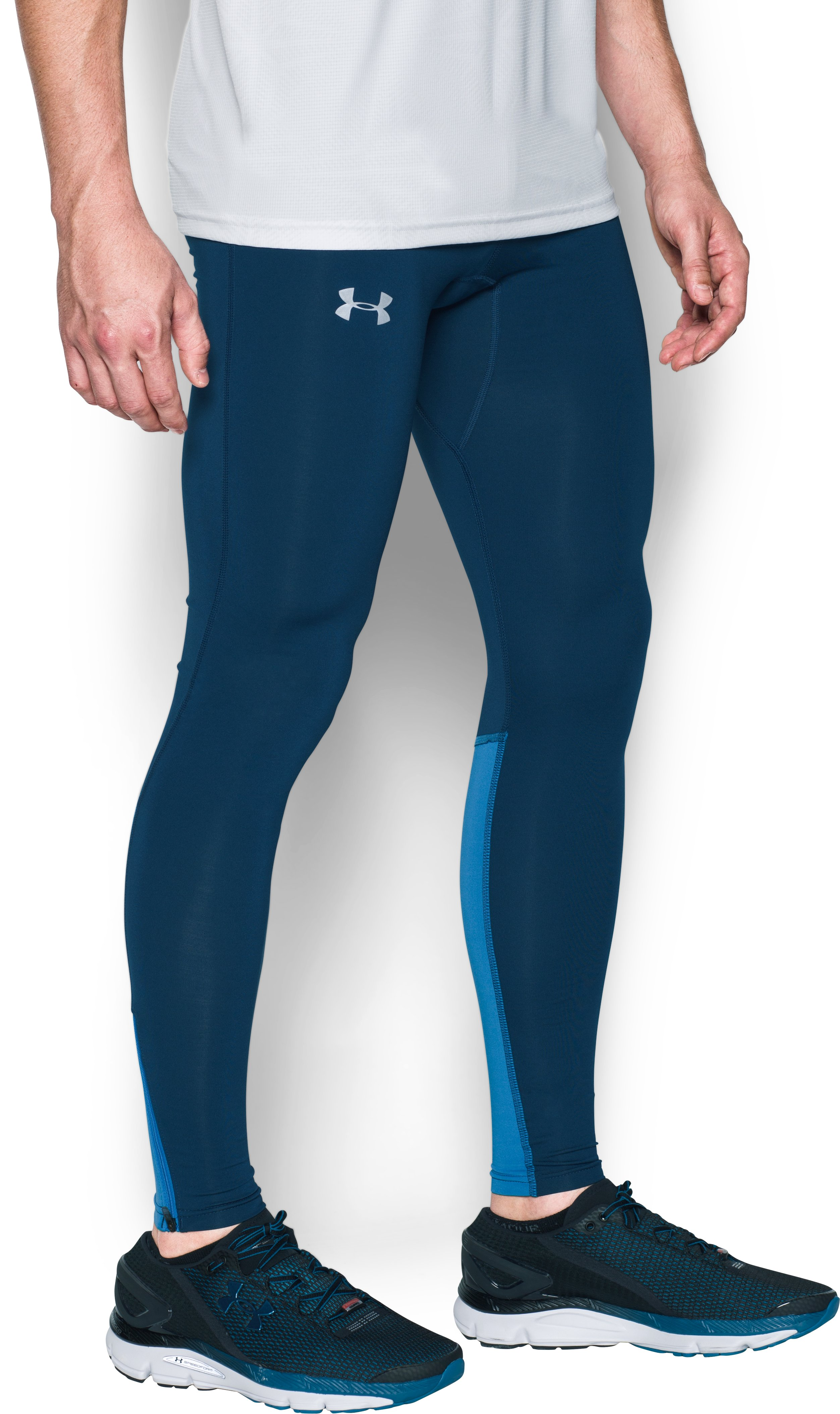 Men's UA No Breaks Run Leggings, BLACKOUT NAVY, zoomed image