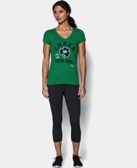 Women's Notre Dame UA Tri-Blend Short Sleeve V-neck