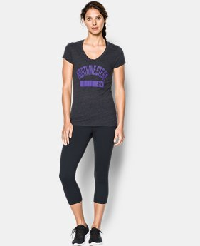 Women's Northwestern College UA Tri-Blend Short Sleeve V-neck