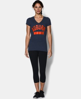 Women's Auburn UA Tri-Blend Short Sleeve V-neck