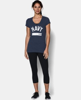 Women's Naval Academy UA Tri-Blend Short Sleeve V-neck