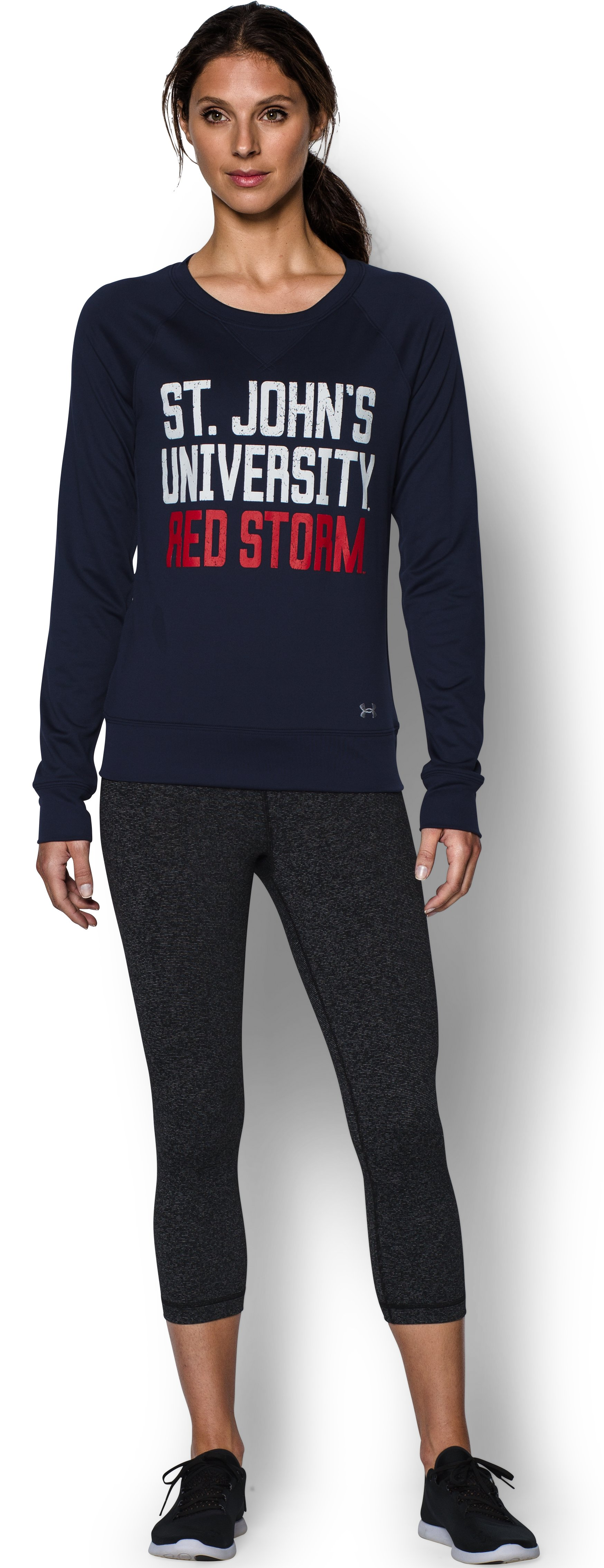 Women's St. John's UA Long Sleeve Crew, Midnight Navy, Front