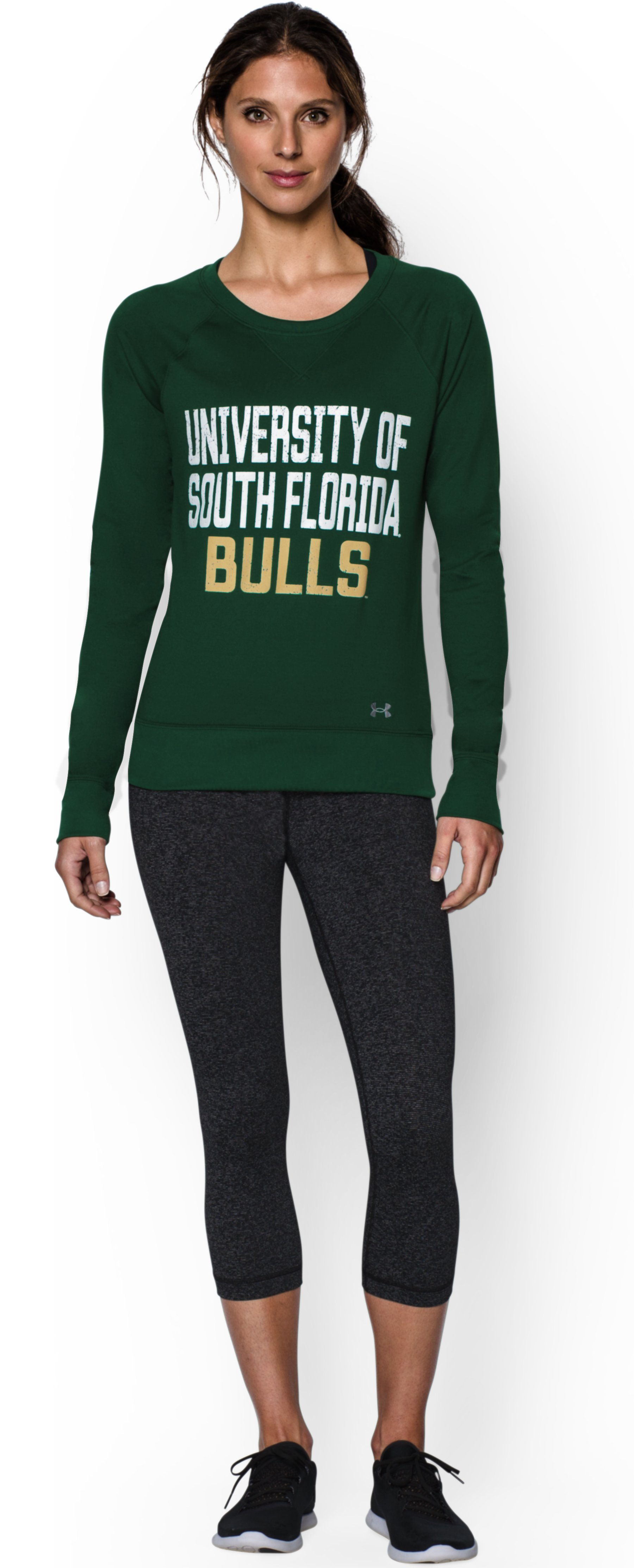 Women's South Florida UA Long Sleeve Crew, Forest Green, Front