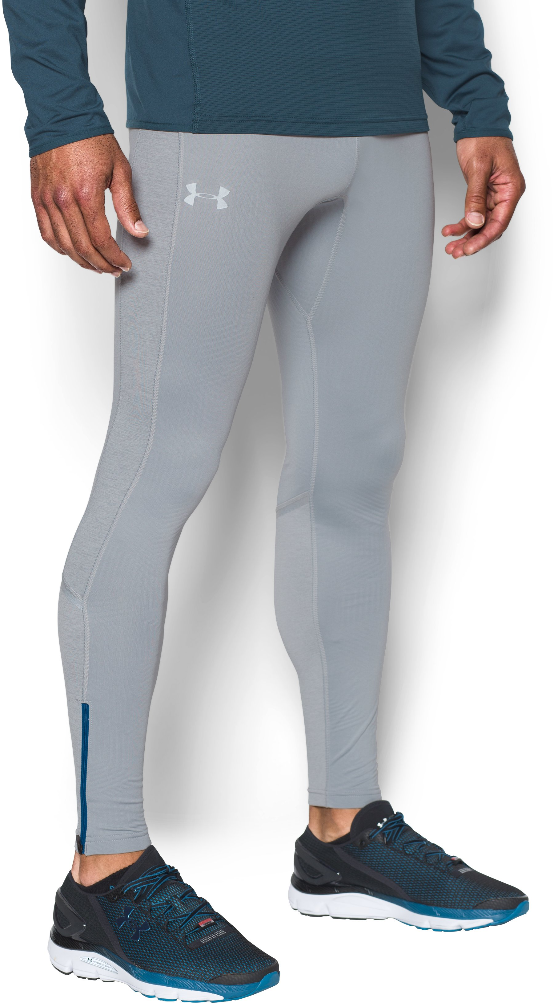 Men's UA No Breaks ColdGear® Infrared Run Leggings, OVERCAST GRAY,