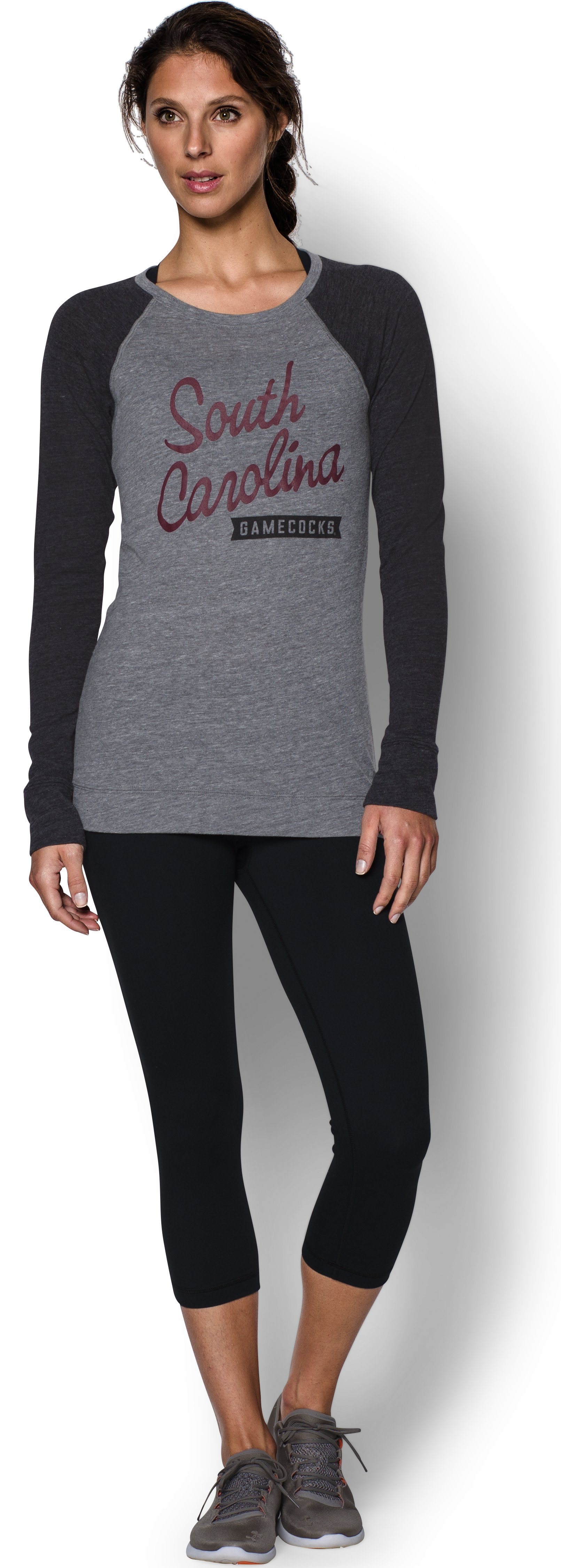 Women's South Carolina UA Tri-Blend Long Sleeve Crew, True Gray Heather, Front