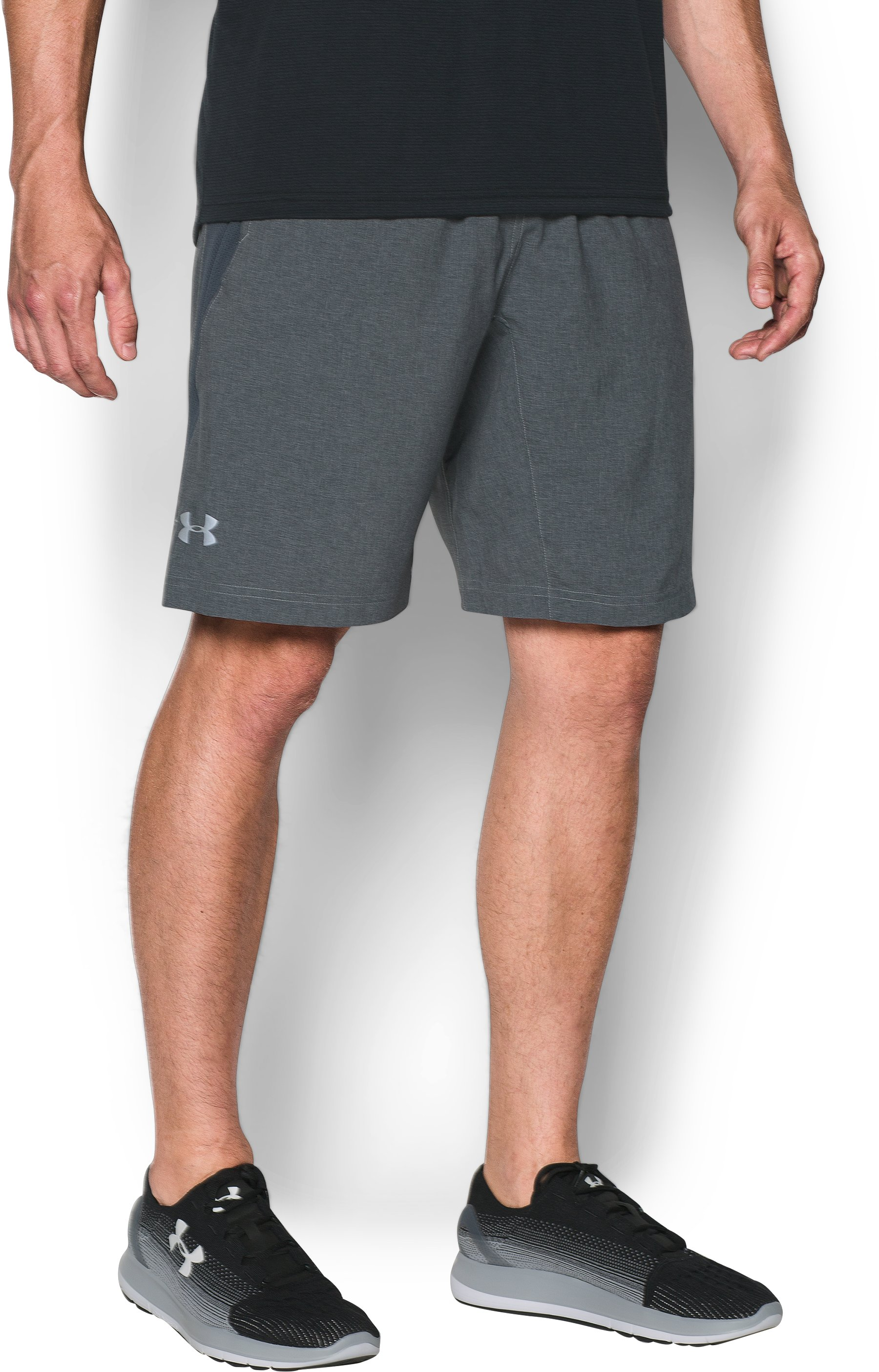 "Men's UA Launch Run 9"" Printed Shorts, Steel, zoomed image"