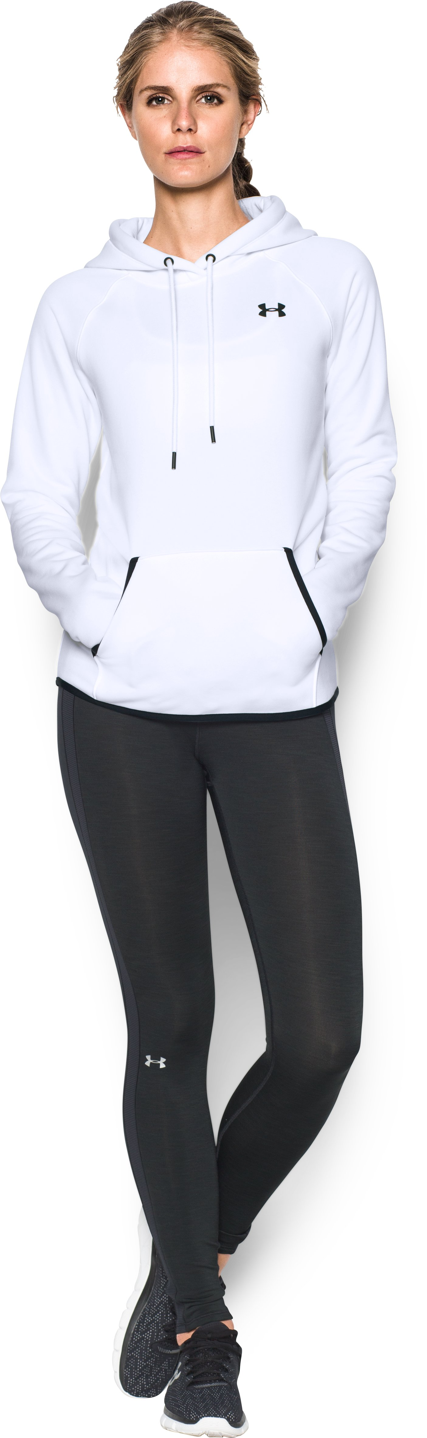 Women's UA Storm Armour® Fleece Logo Hoodie, White, Front