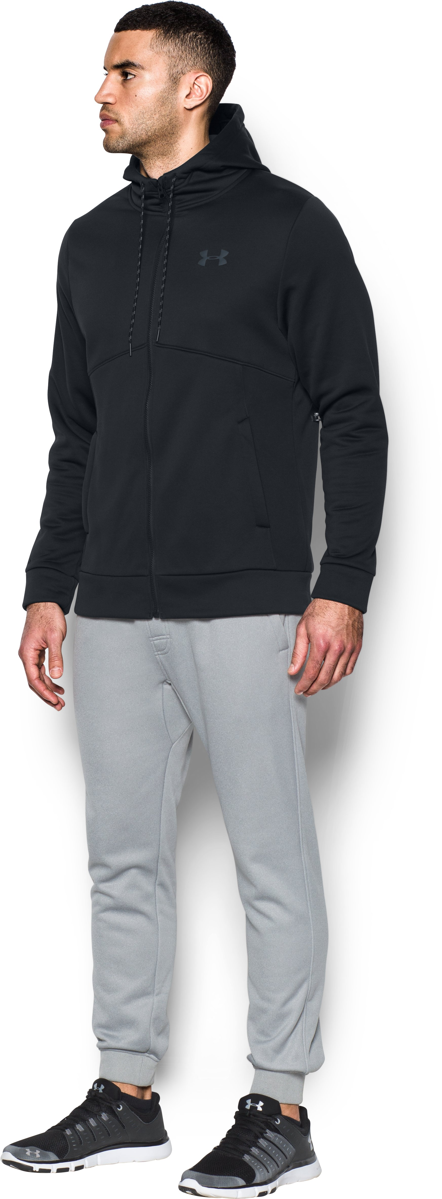 Men's UA Storm Armour® Fleece Full Zip Hoodie, Black