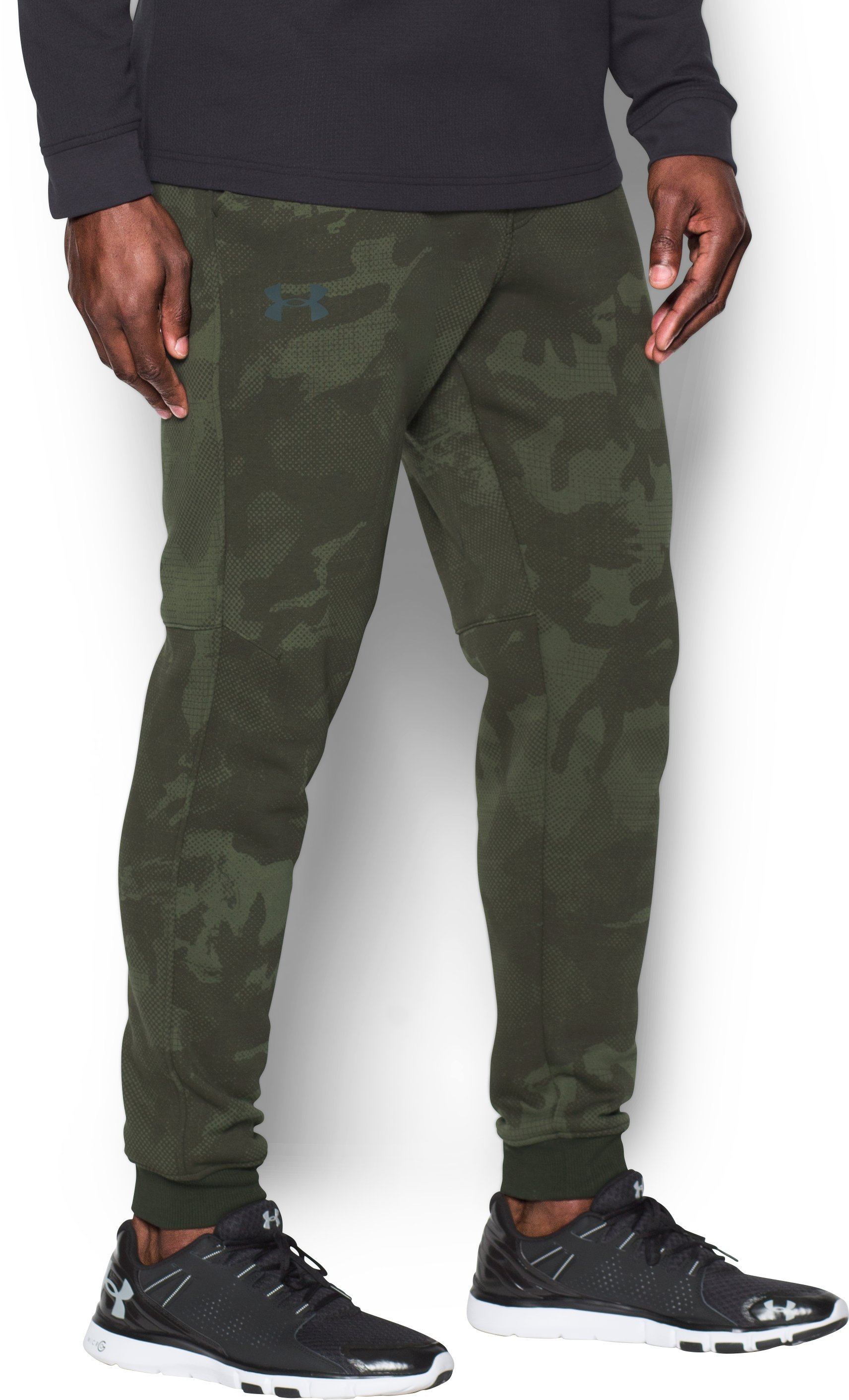 Men's UA Rival Fleece Patterned Joggers, Artillery Green