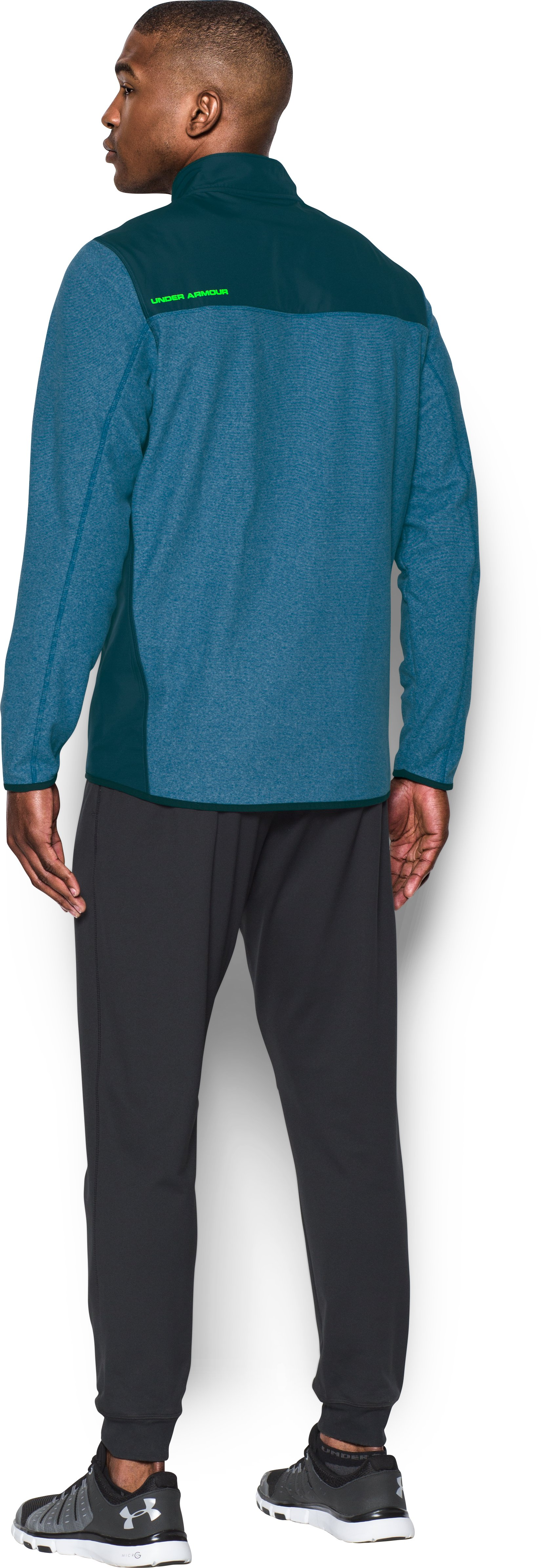 Men's UA ColdGear® Infrared Fleece Heavyweight Hoodie, PEACOCK, Back