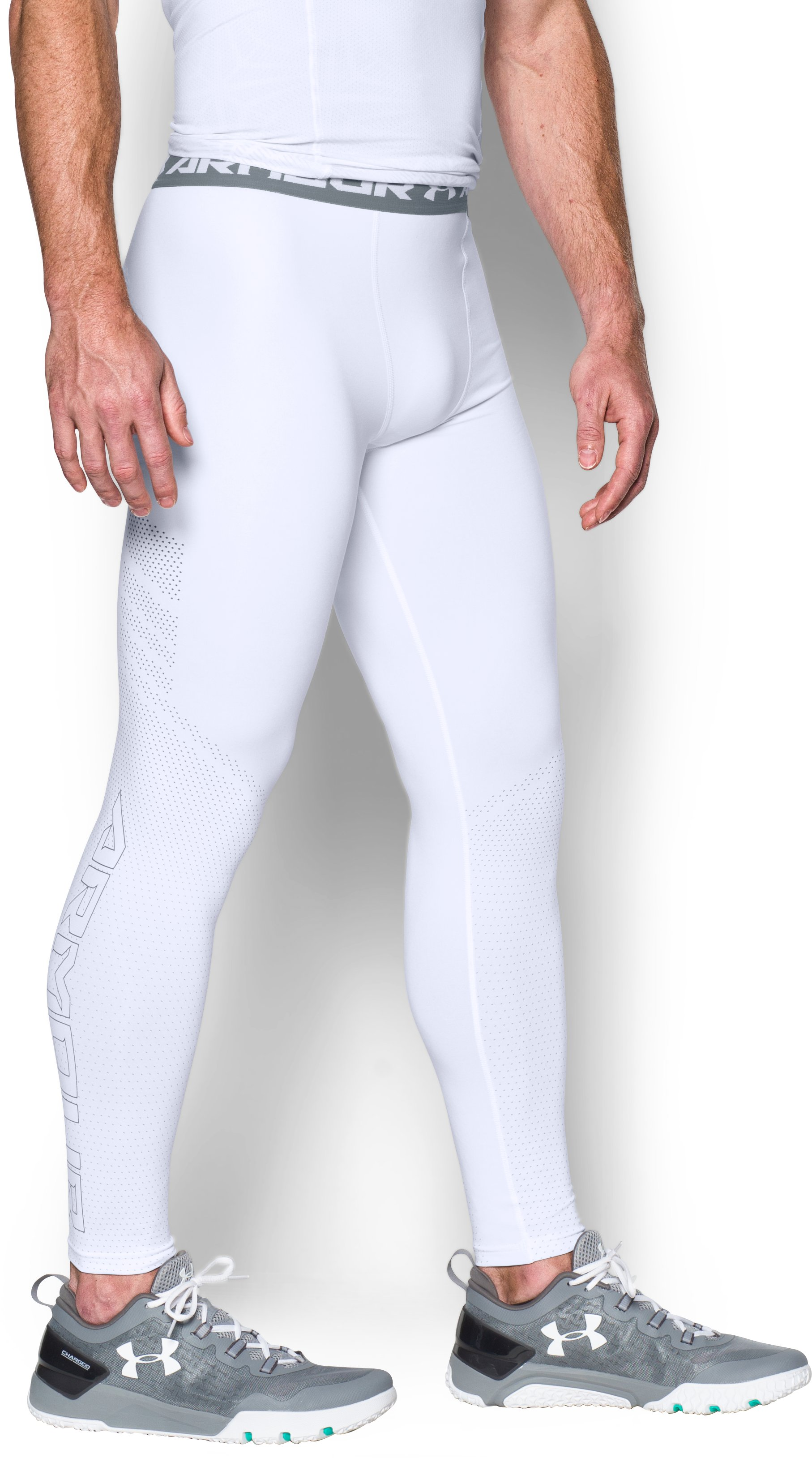 Men's UA HeatGear® Armour Printed Compression Leggings, White