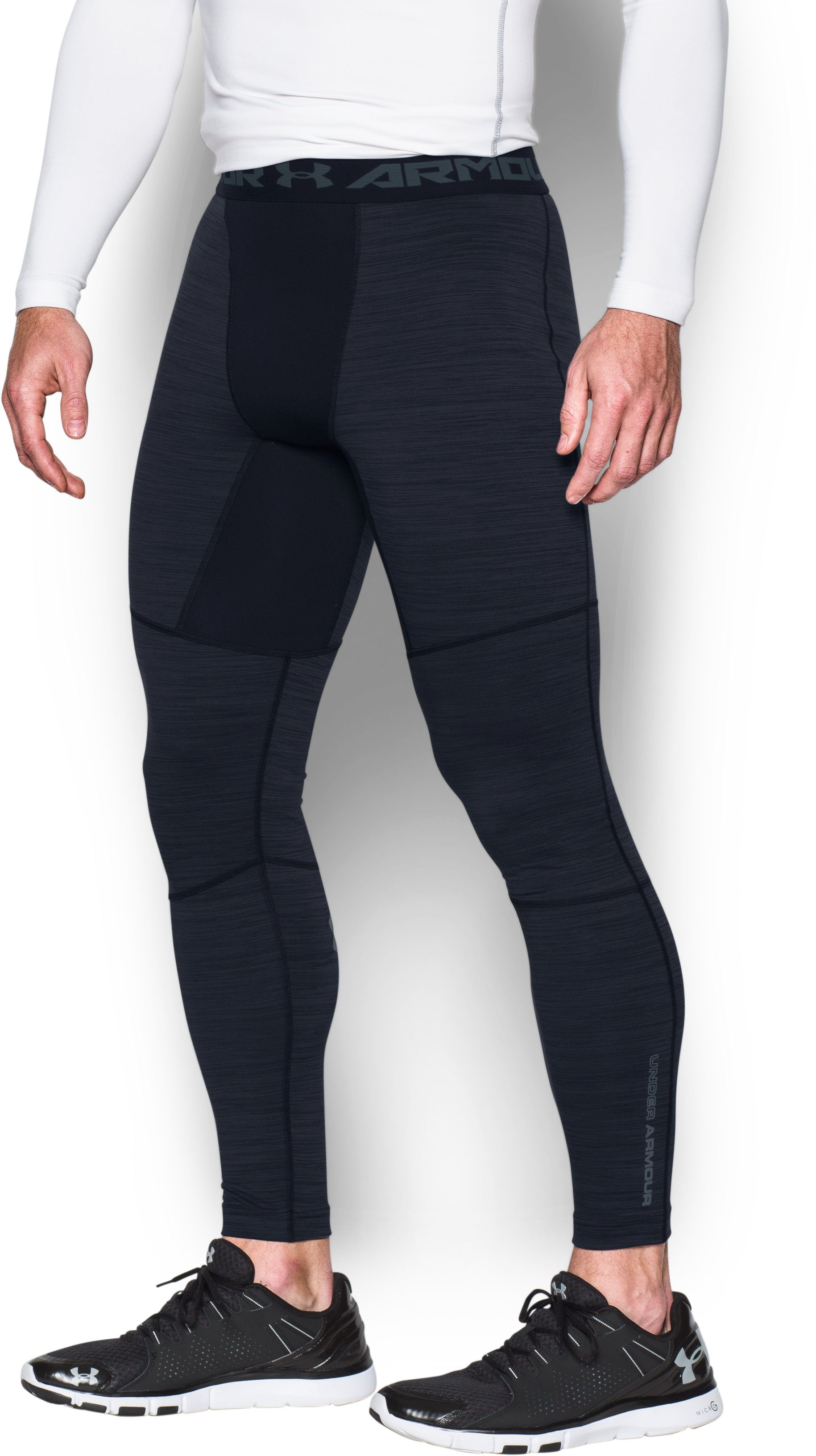 Men's UA ColdGear® Armour Twist Compression Leggings, Black , undefined