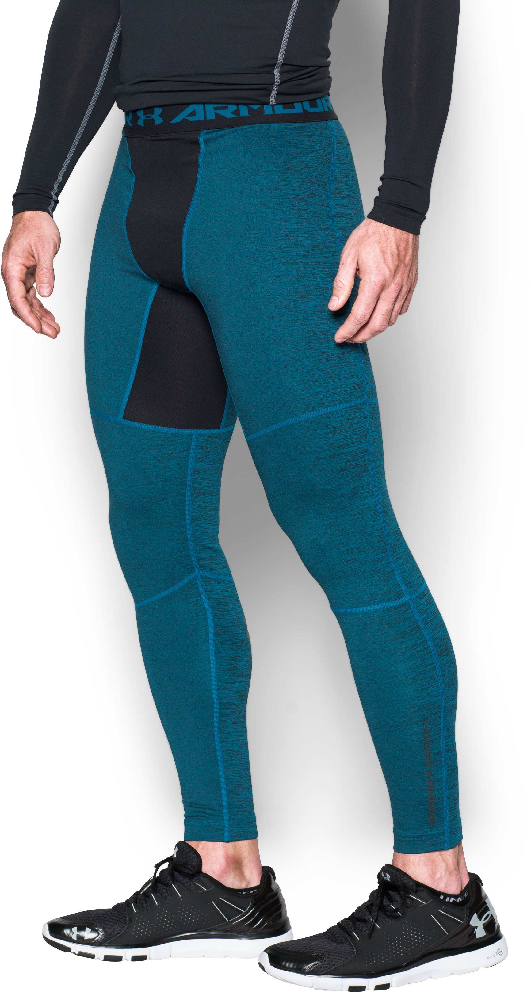 Men's UA ColdGear® Armour Twist Compression Leggings, PEACOCK, zoomed image