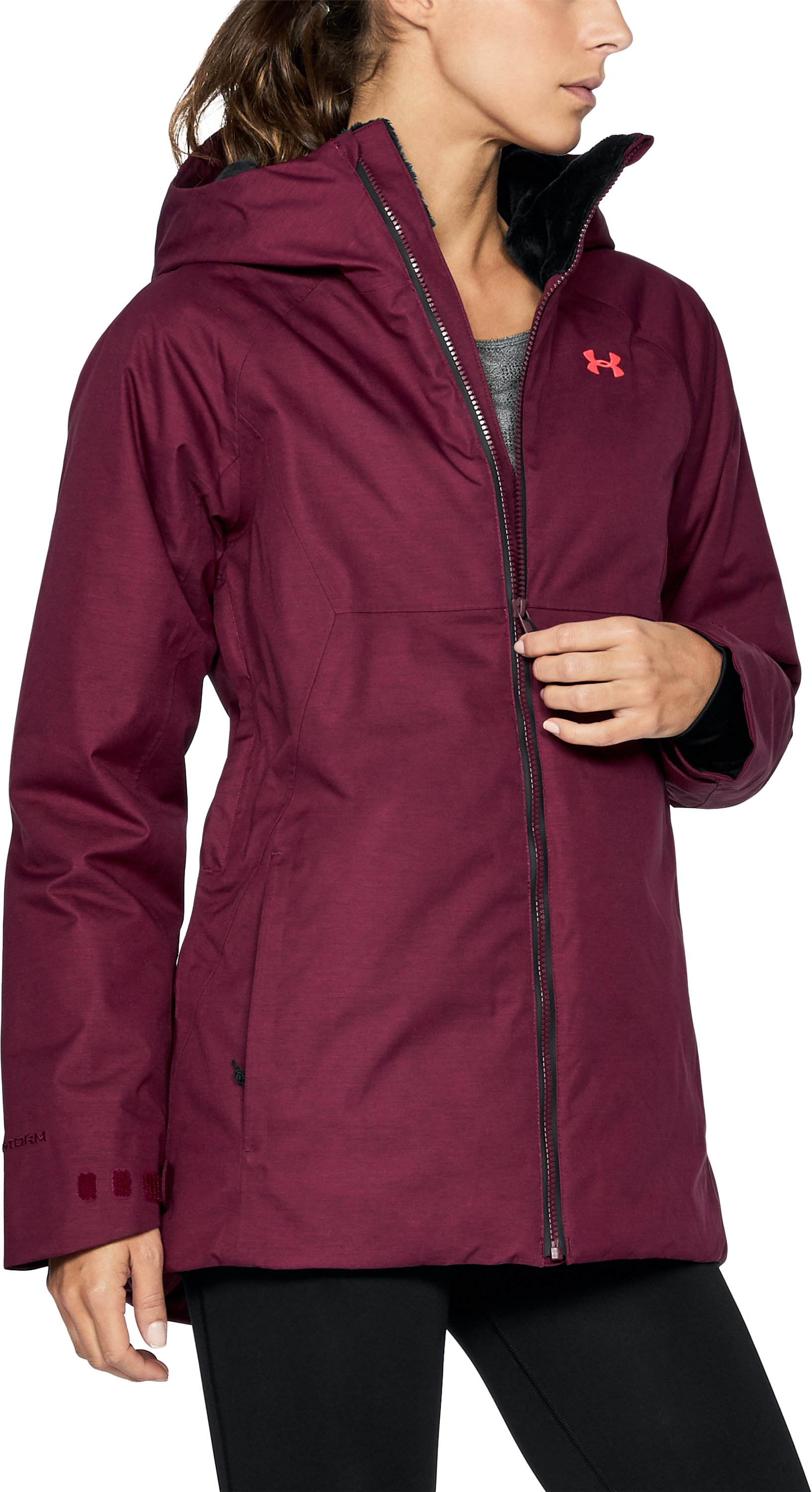 Women's UA ColdGear® Infrared Snowcrest Jacket, BLACK CURRANT, undefined