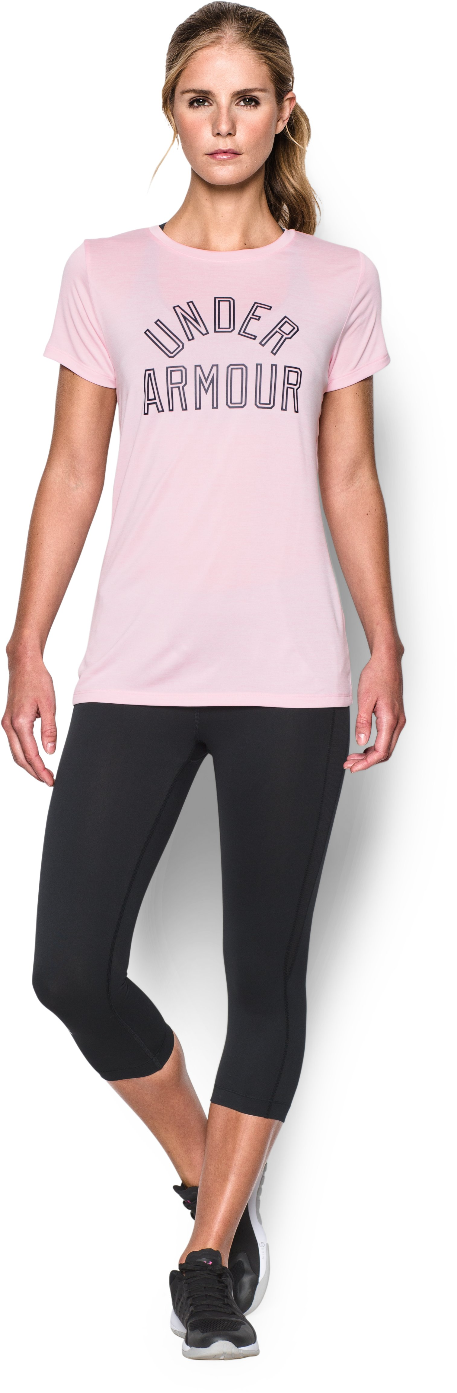 Women's UA Tech™ T-Shirt - Twist Graphic, PETAL PINK, Front