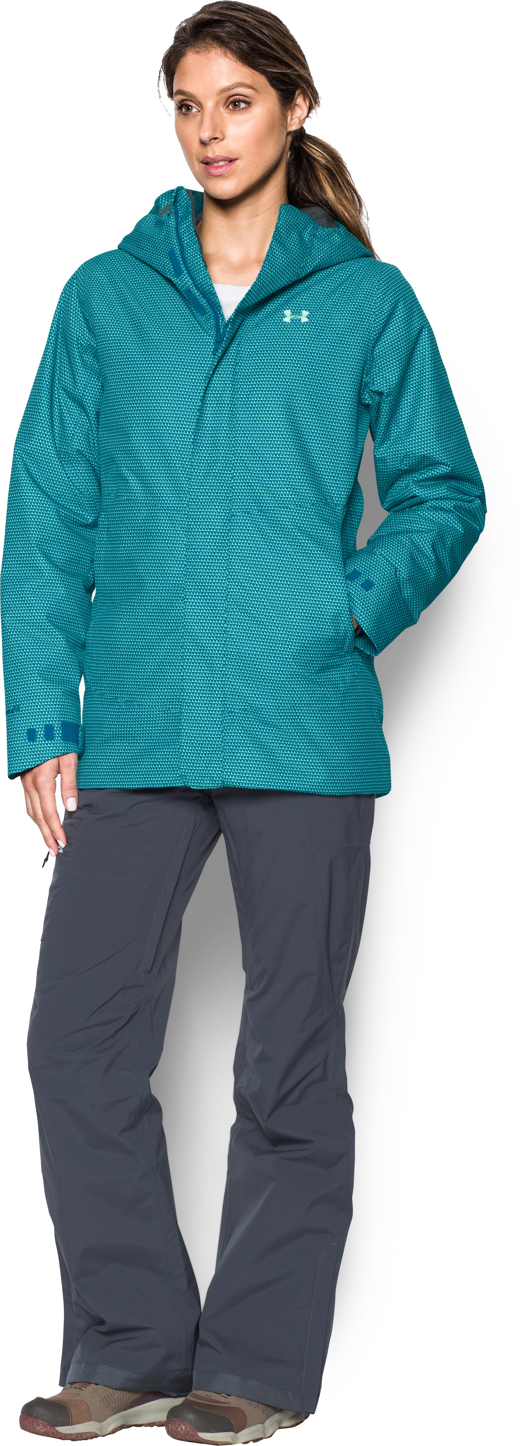 Women's UA ColdGear® Infrared Powerline Insulated Jacket, PEACOCK, Front