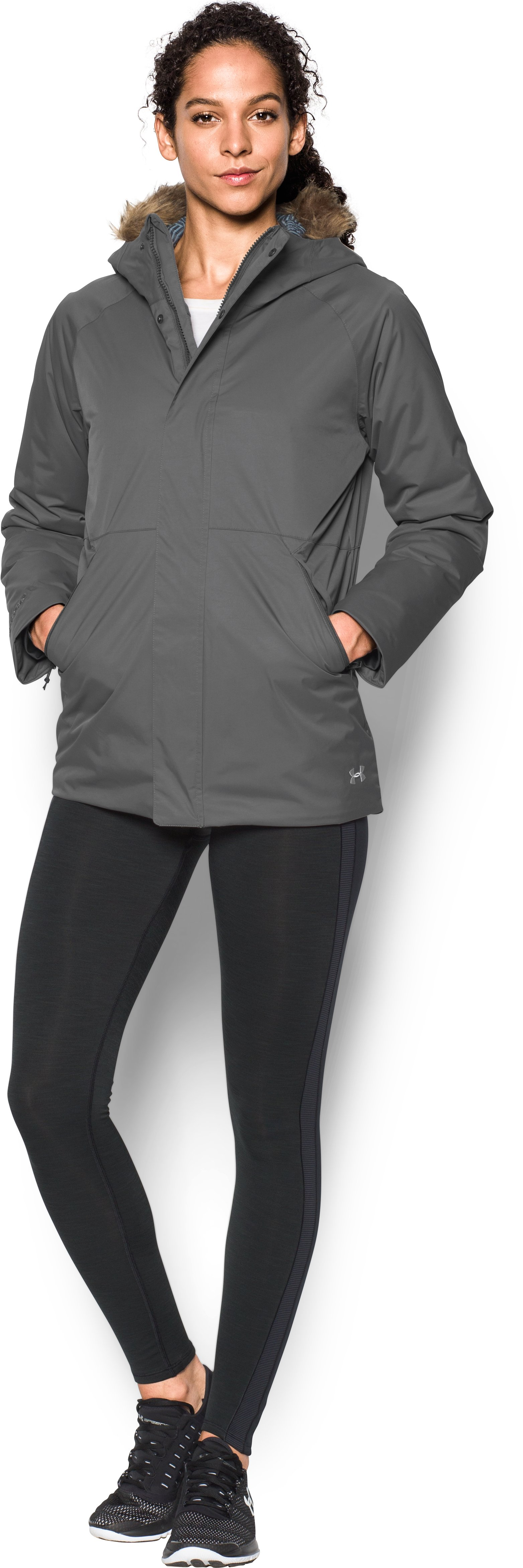 Women's UA ColdGear® Reactor Yonders Jacket, GRANITE, Front