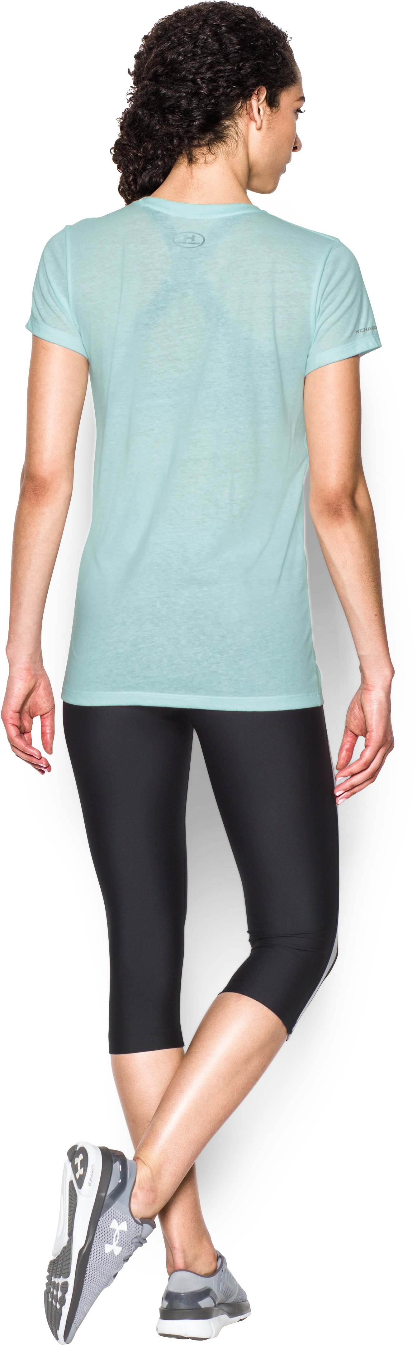 Women's UA Favorite Branded Short Sleeve, AQUA FALLS, Back