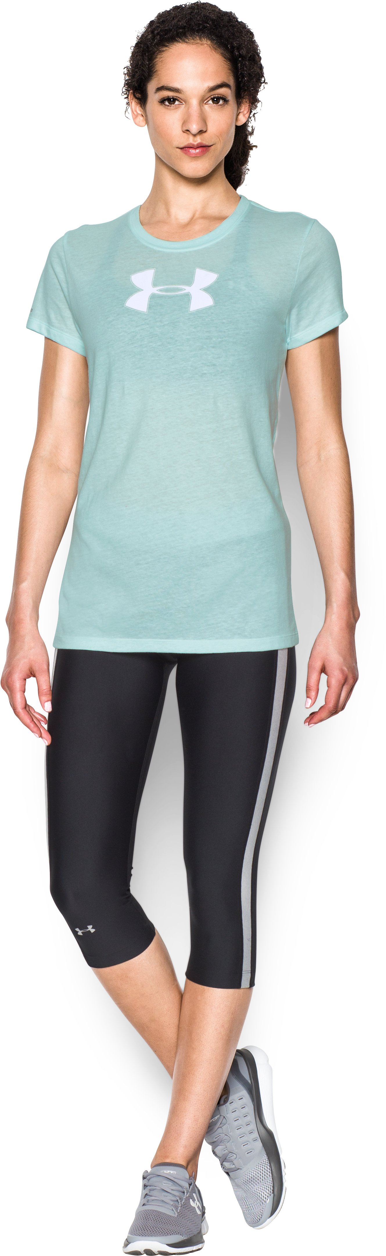 Women's UA Favorite Branded Short Sleeve, AQUA FALLS, Front