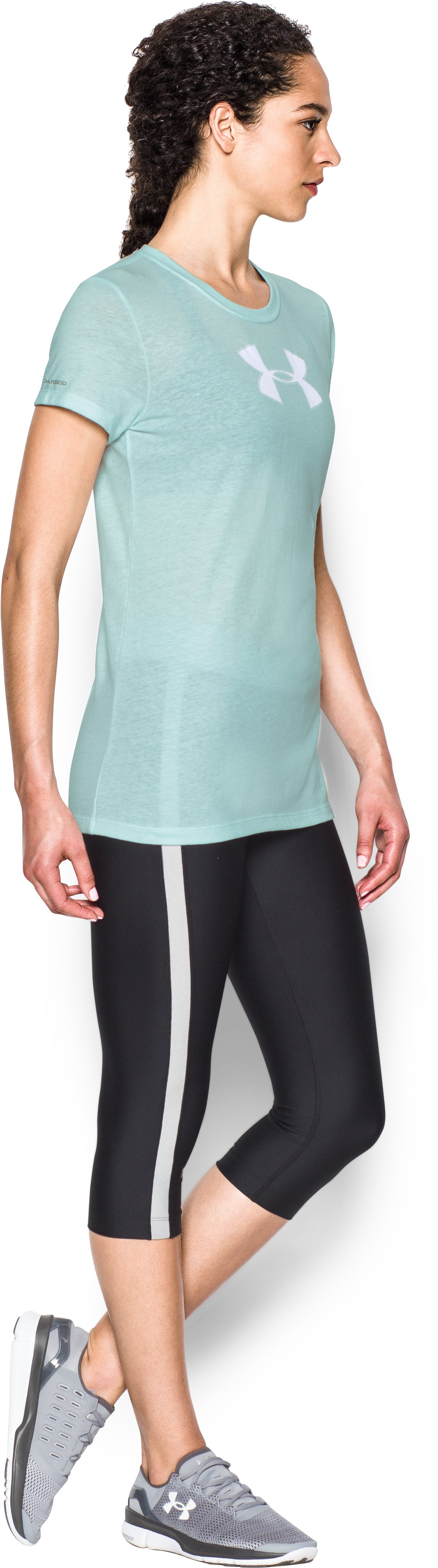 Women's UA Favorite Branded Short Sleeve, AQUA FALLS