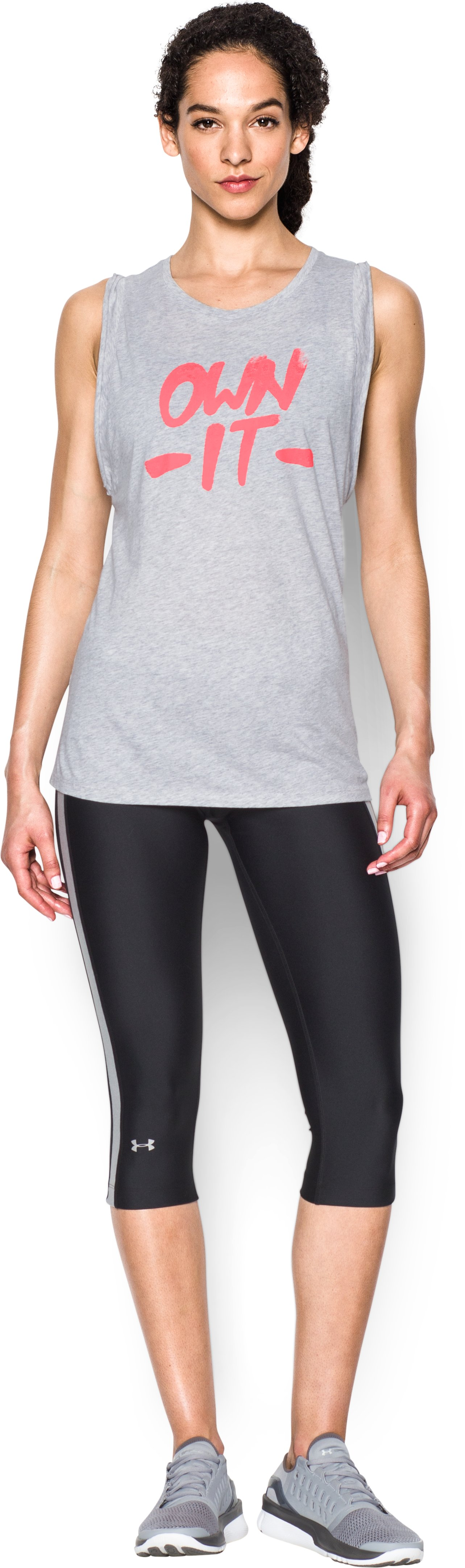 Women's UA Own it Muscle Tank , AIR FORCE GRAY HEATHER, Front