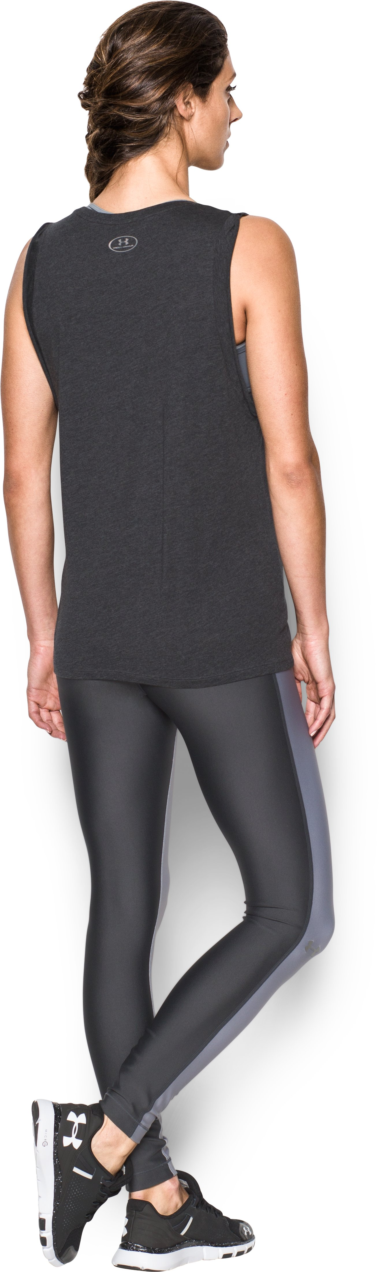 Women's UA Move It Muscle Tank, Carbon Heather, Back