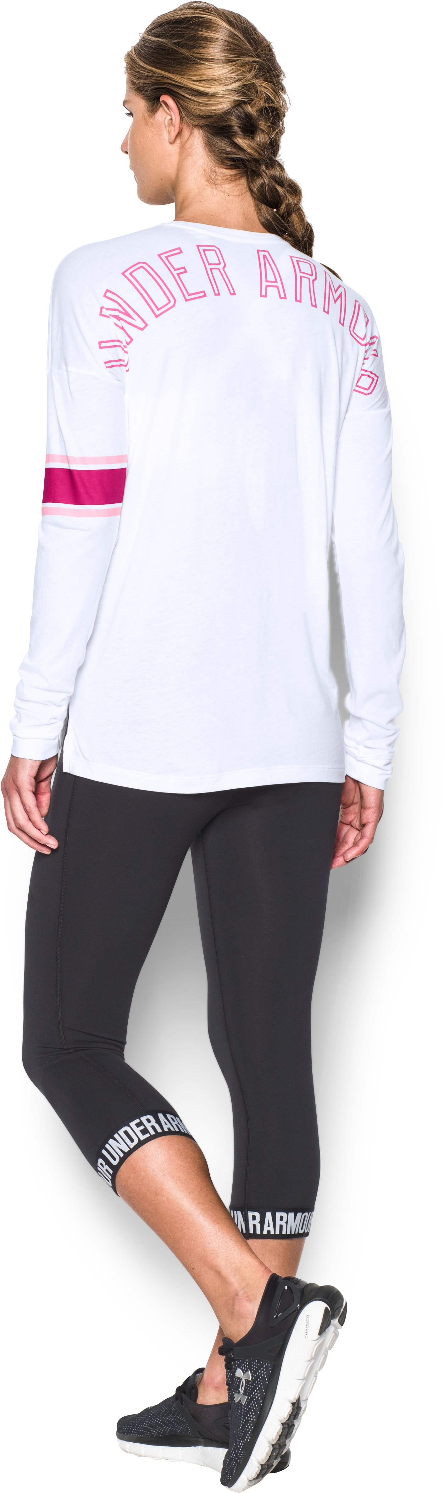 Women's UA Power In Pink® Favorite Long Sleeve, White, Back