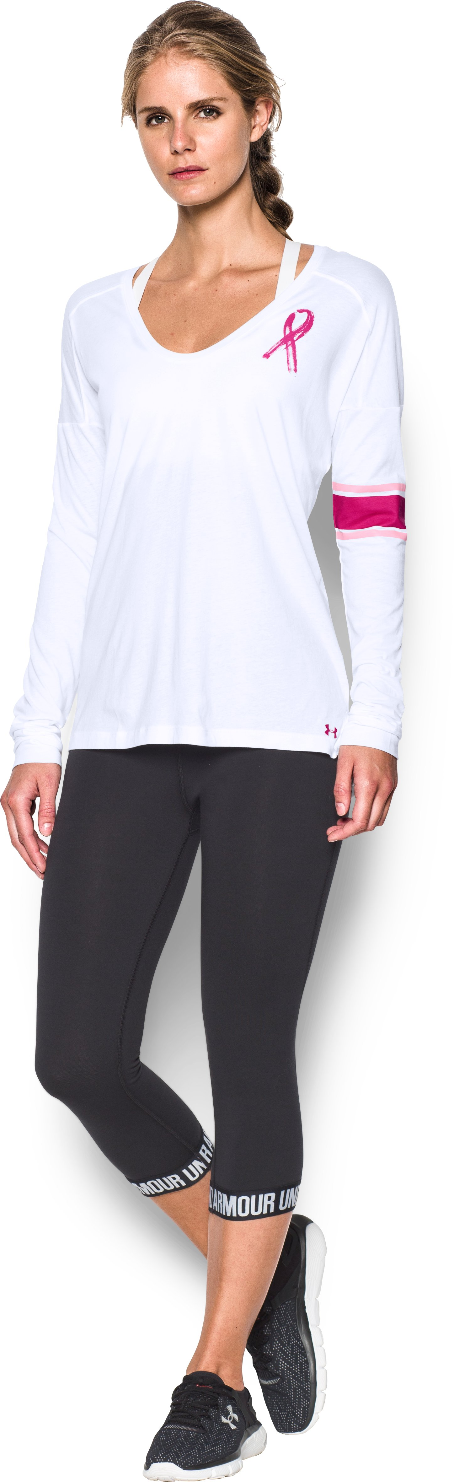 Women's UA Power In Pink® Favorite Long Sleeve, White, Front