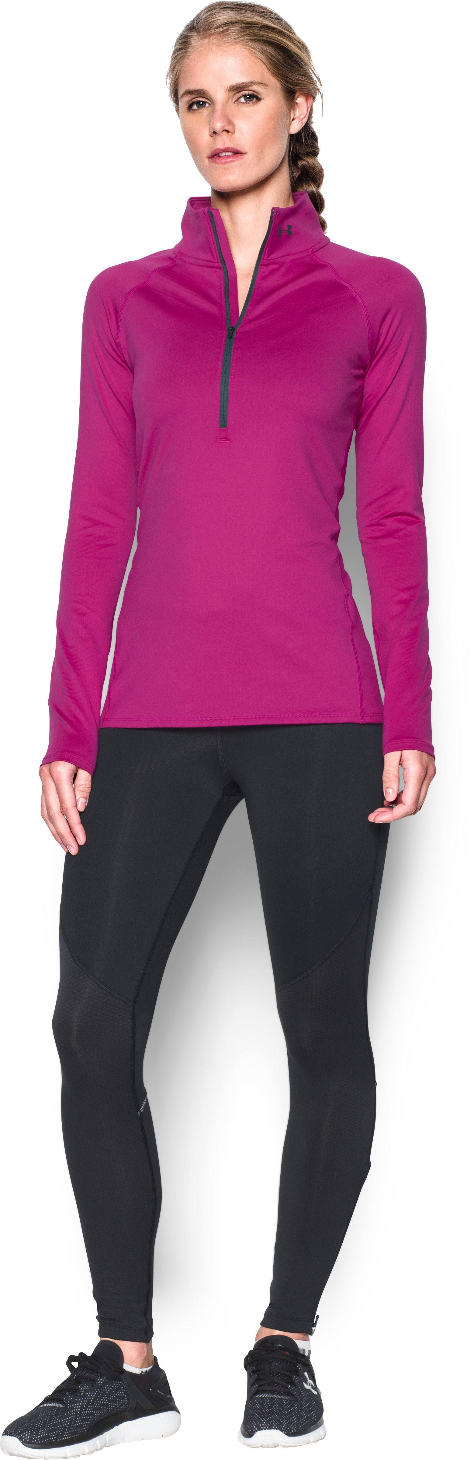 Women's UA ColdGear® Infrared EVO 1/2 Zip, MAGENTA SHOCK, Front