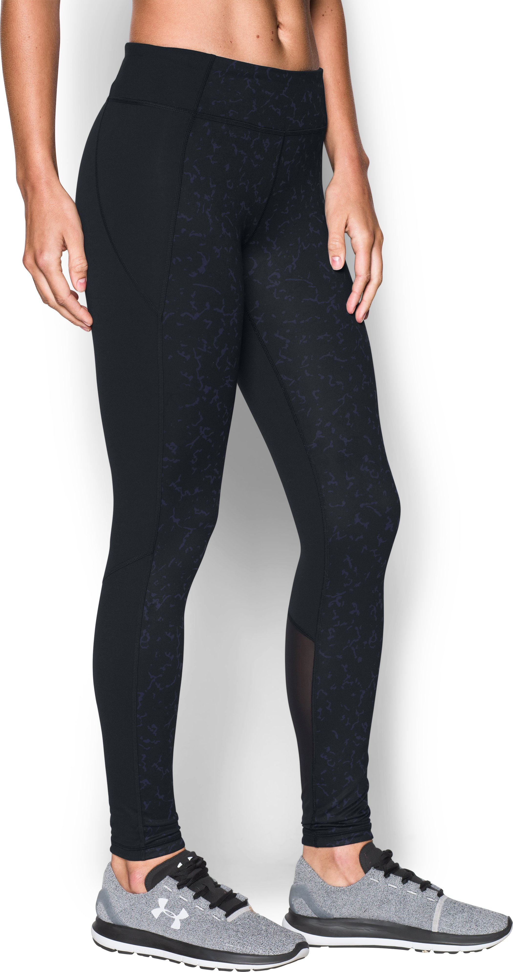 Women's UA Mirror Feathered Marble Leggings, Midnight Navy