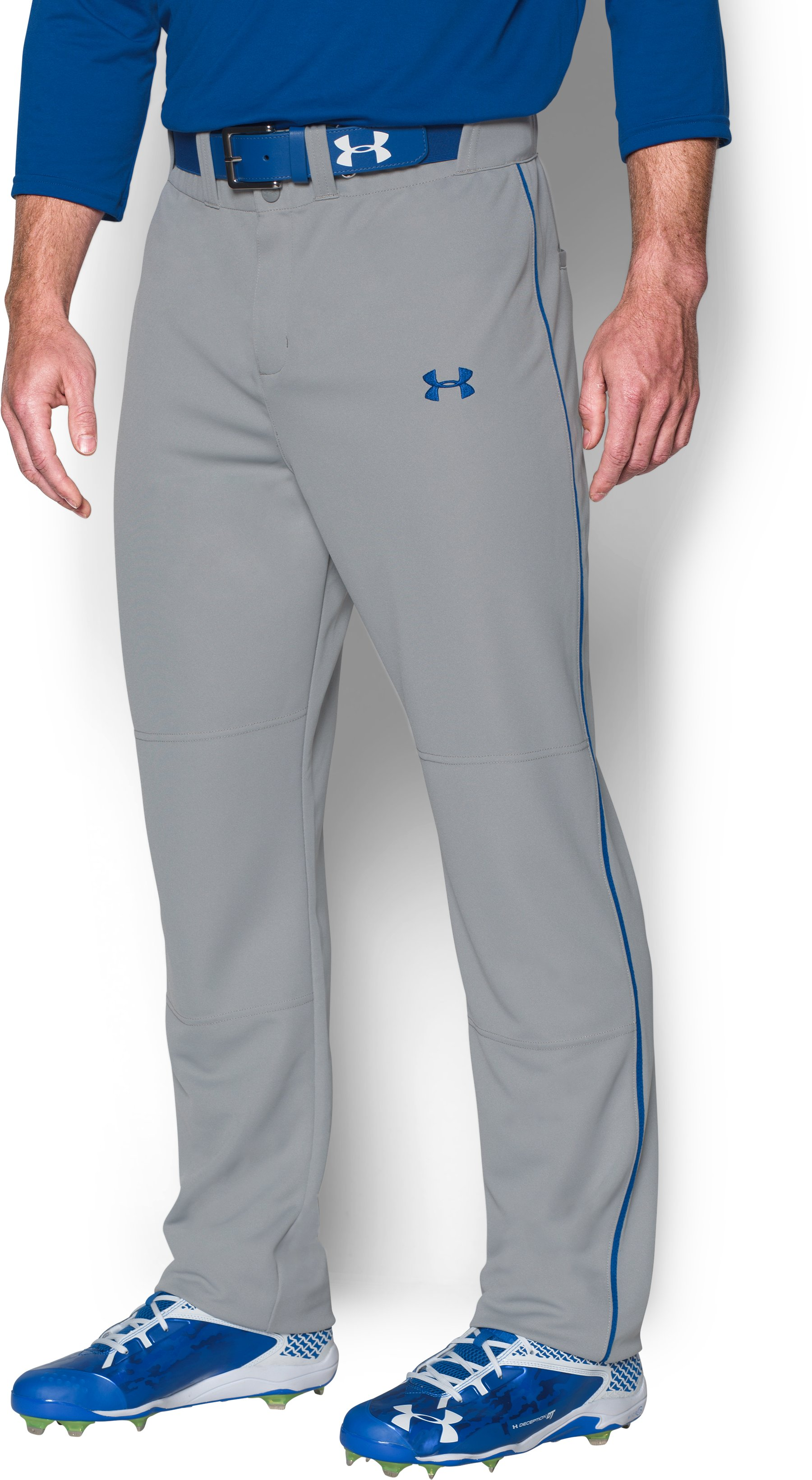 Men's UA Clean Up Piped Baseball Pants, Baseball Gray, zoomed image
