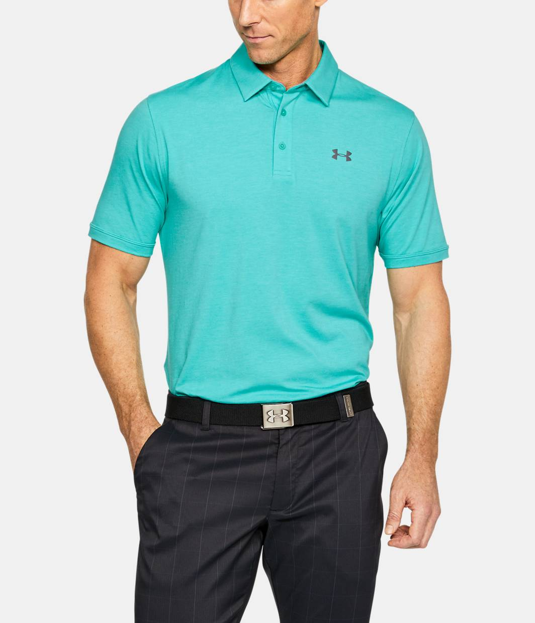 Men 39 s charged cotton scramble polo under armour us for Teal under armour shirt