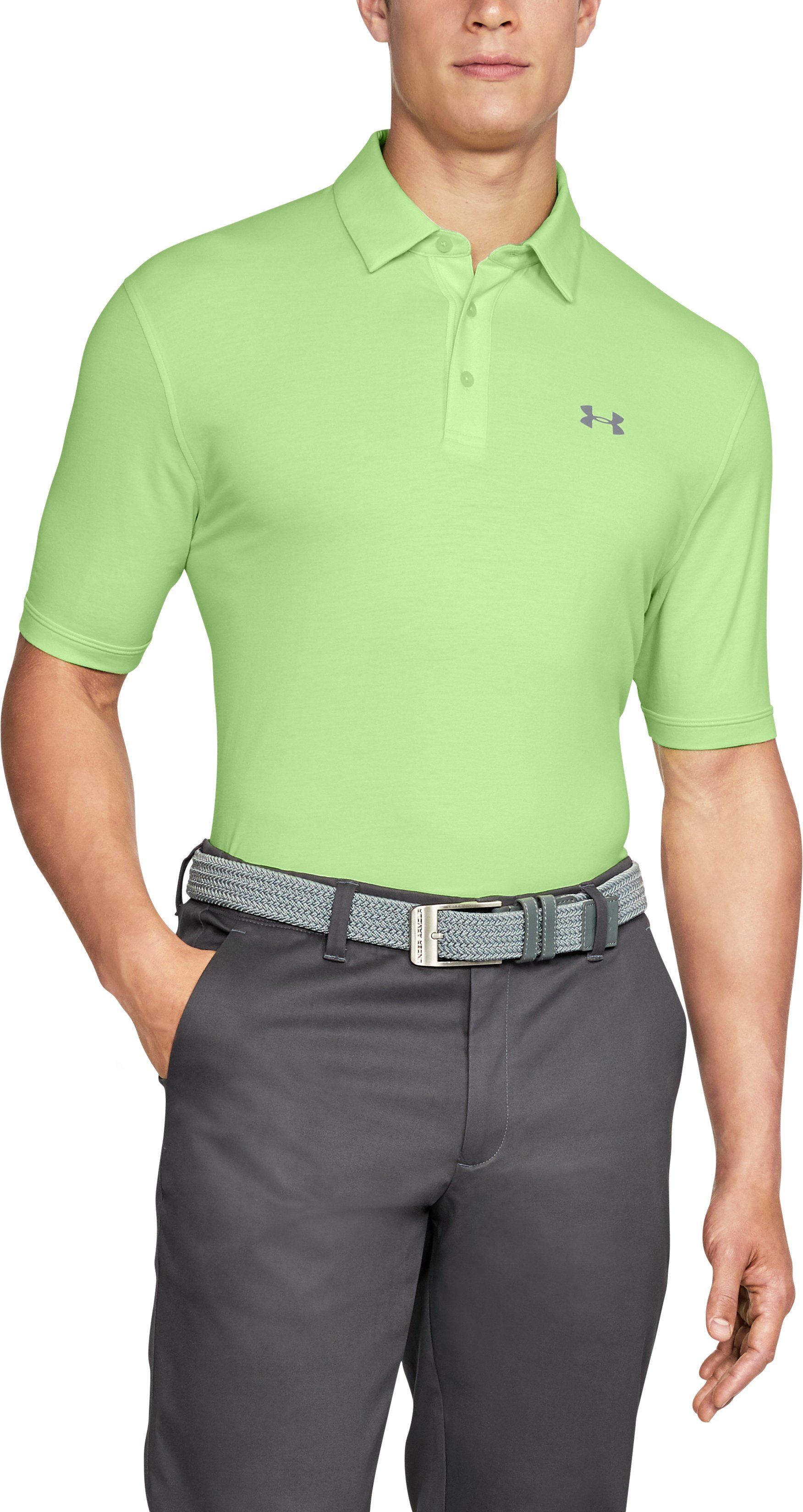 Men's Charged Cotton® Scramble Polo, LUMOS LIME