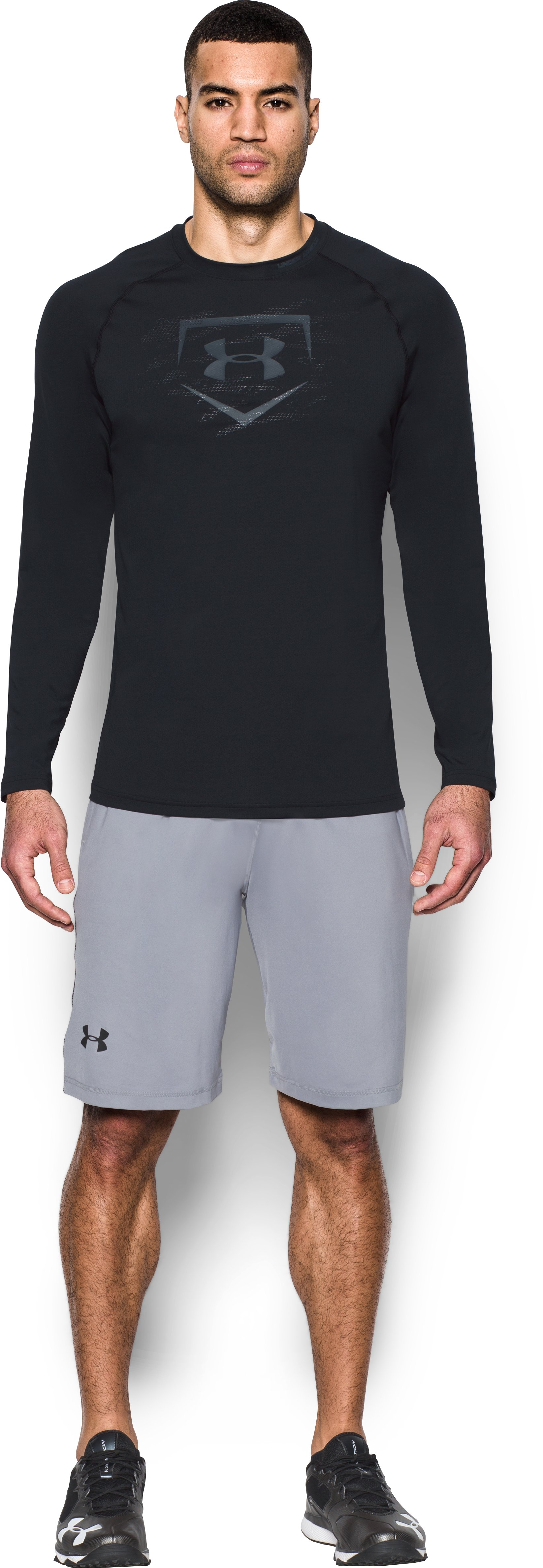Men's UA Baseball Training Long Sleeve, Black , Front