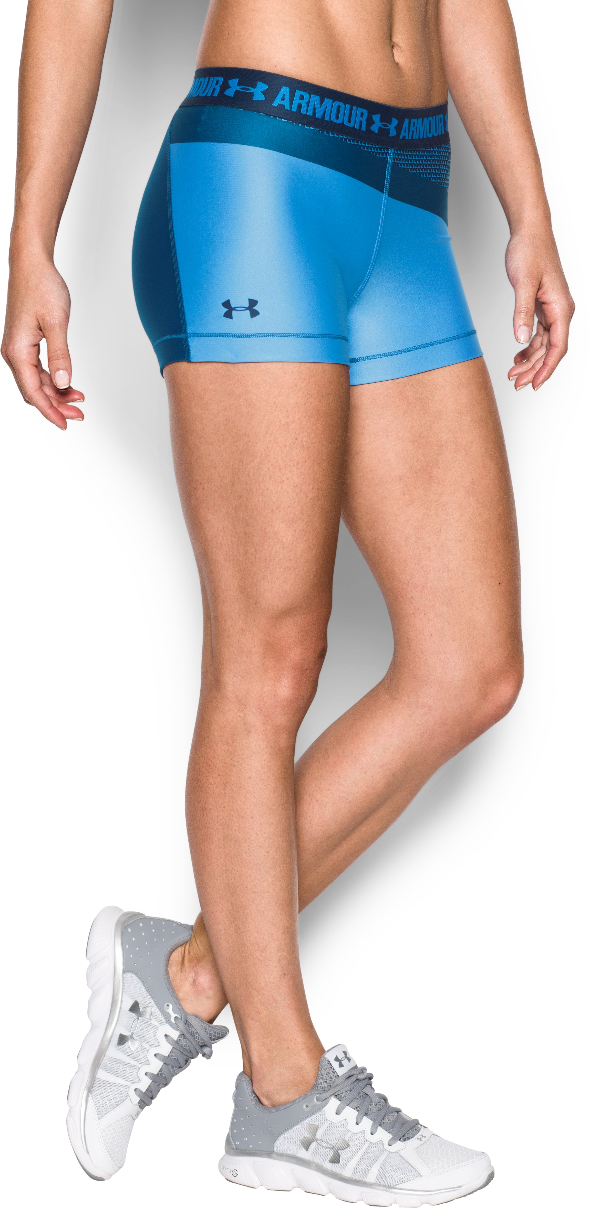 "Women's UA HeatGear® Armour 3"" Engineered Shorty , Water, zoomed image"