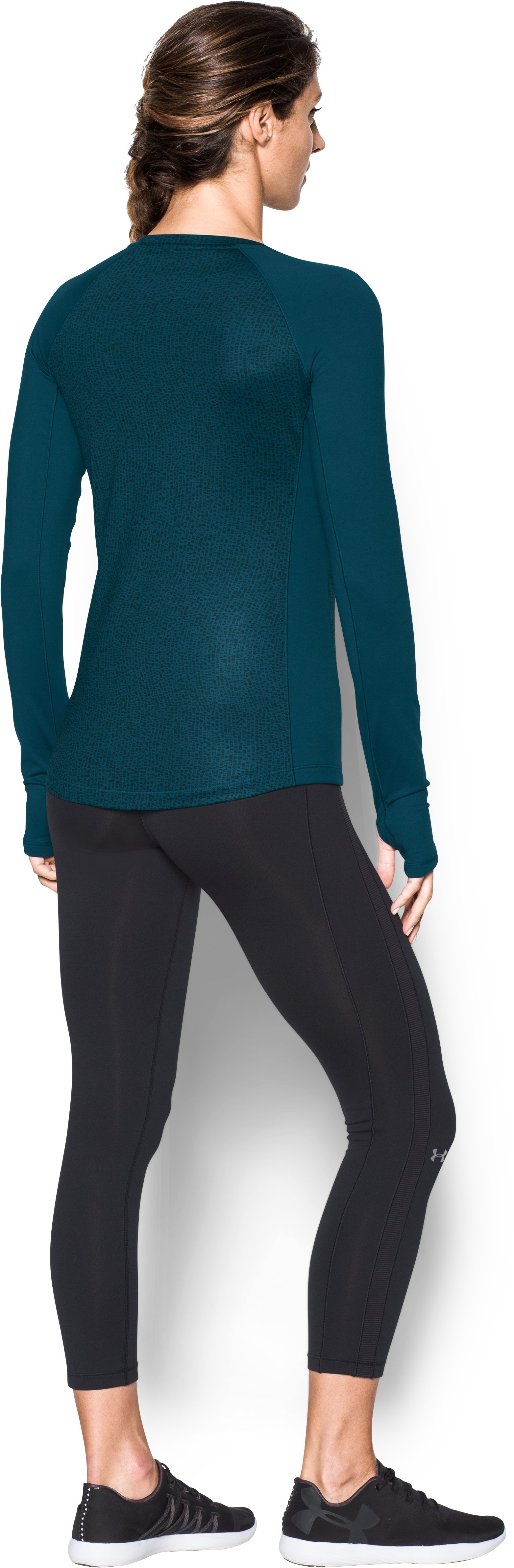 Women's UA ColdGear® Jacquard Long Sleeve, NOVA TEAL, Back