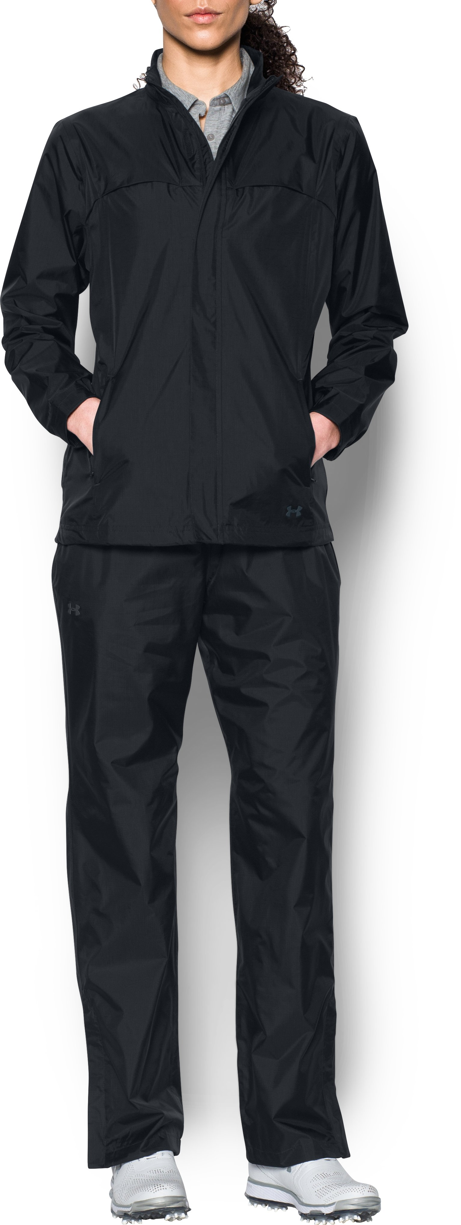 Women's UA Storm Rain Suit, Black , Front