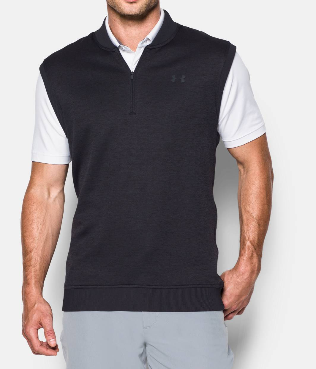 Men 39 s ua storm sweaterfleece vest under armour us for Polo shirt with undershirt