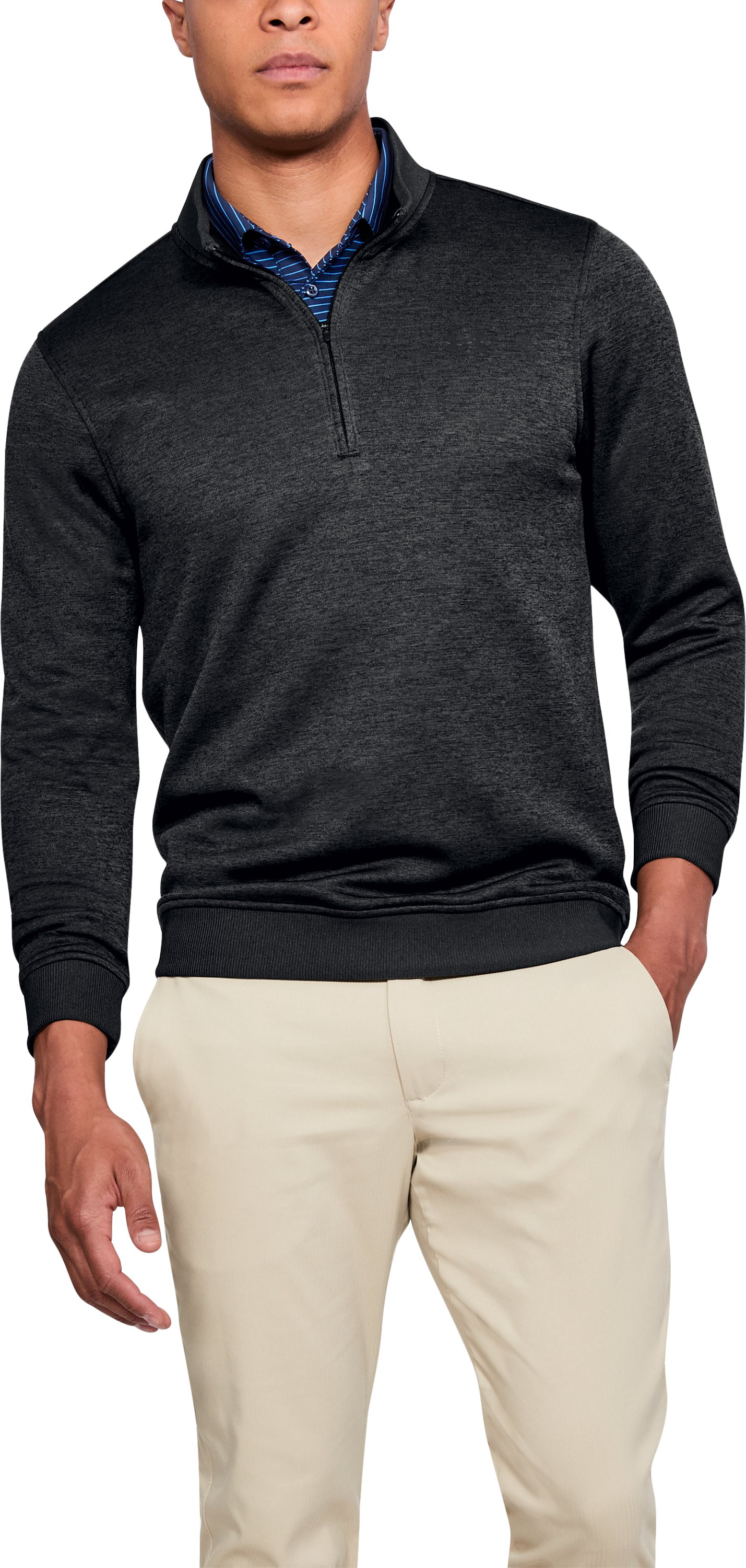 Men's UA Storm SweaterFleece ¼ Zip, BLACK FULL HEATHER