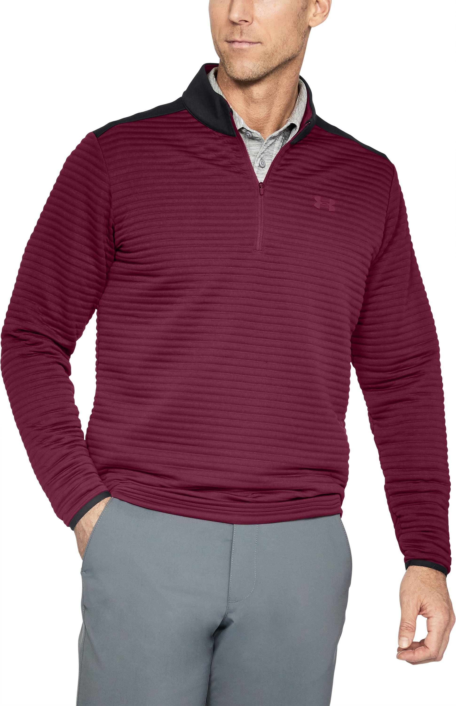 Men's UA Tips Daytona ¼ Zip, BLACK CURRANT,