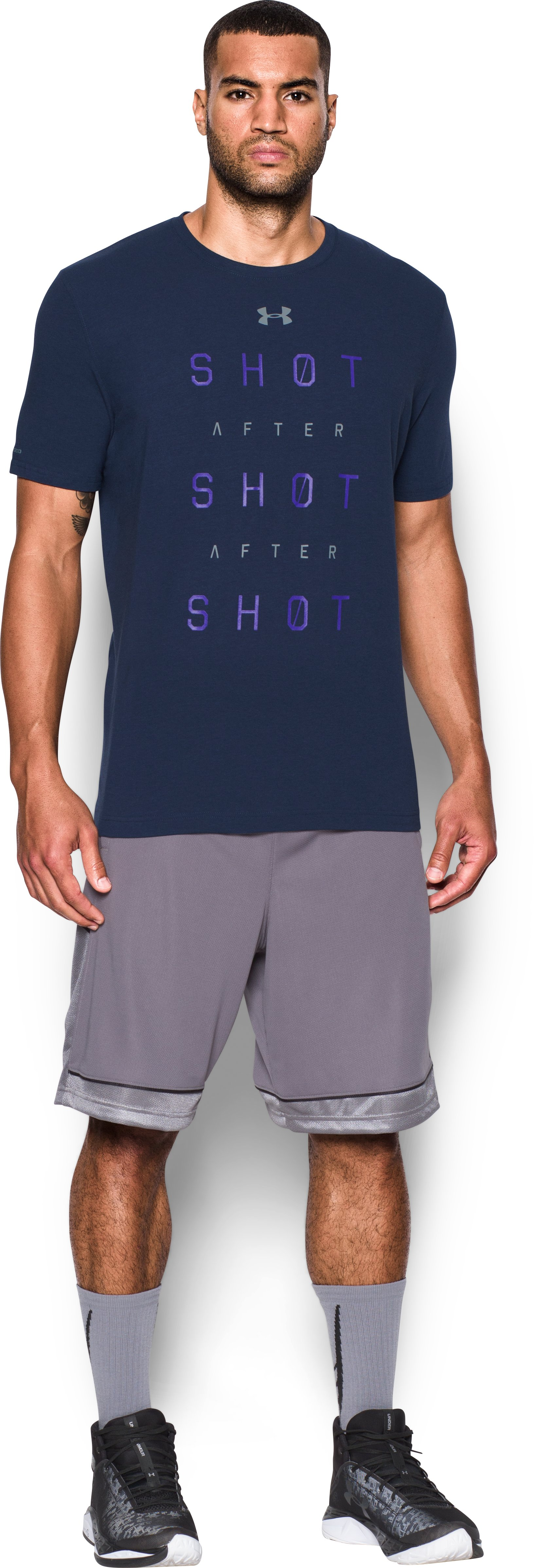 Men's UA Shot After Shot After Shot T-Shirt, Midnight Navy, Front