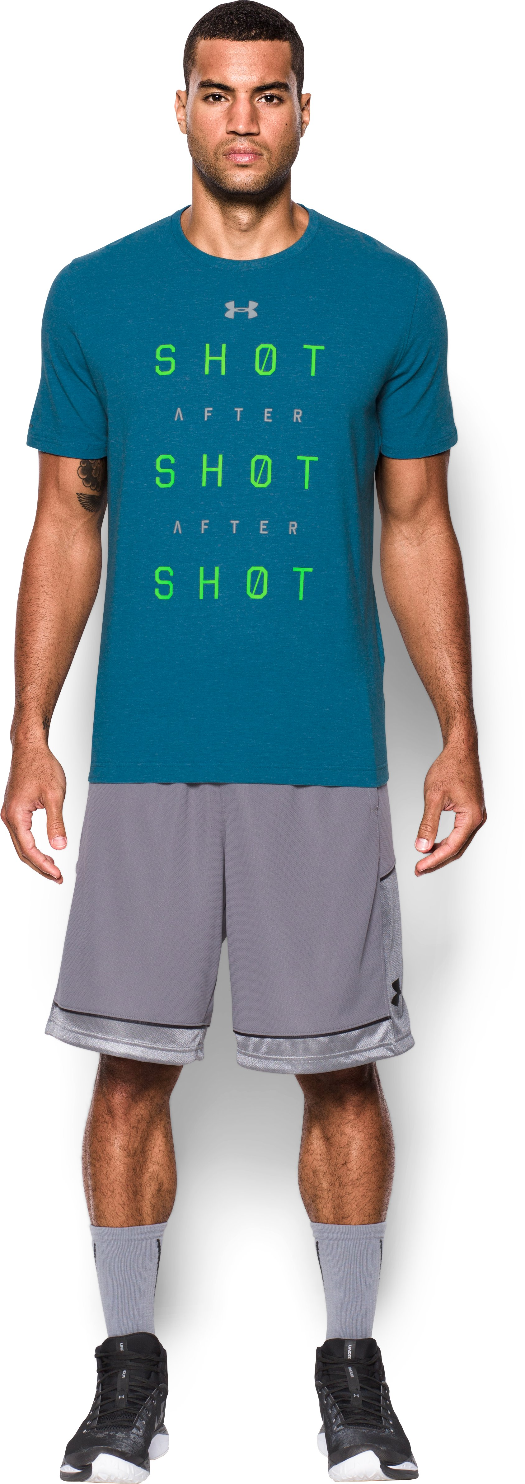Men's UA Shot After Shot After Shot T-Shirt, PEACOCK, Front