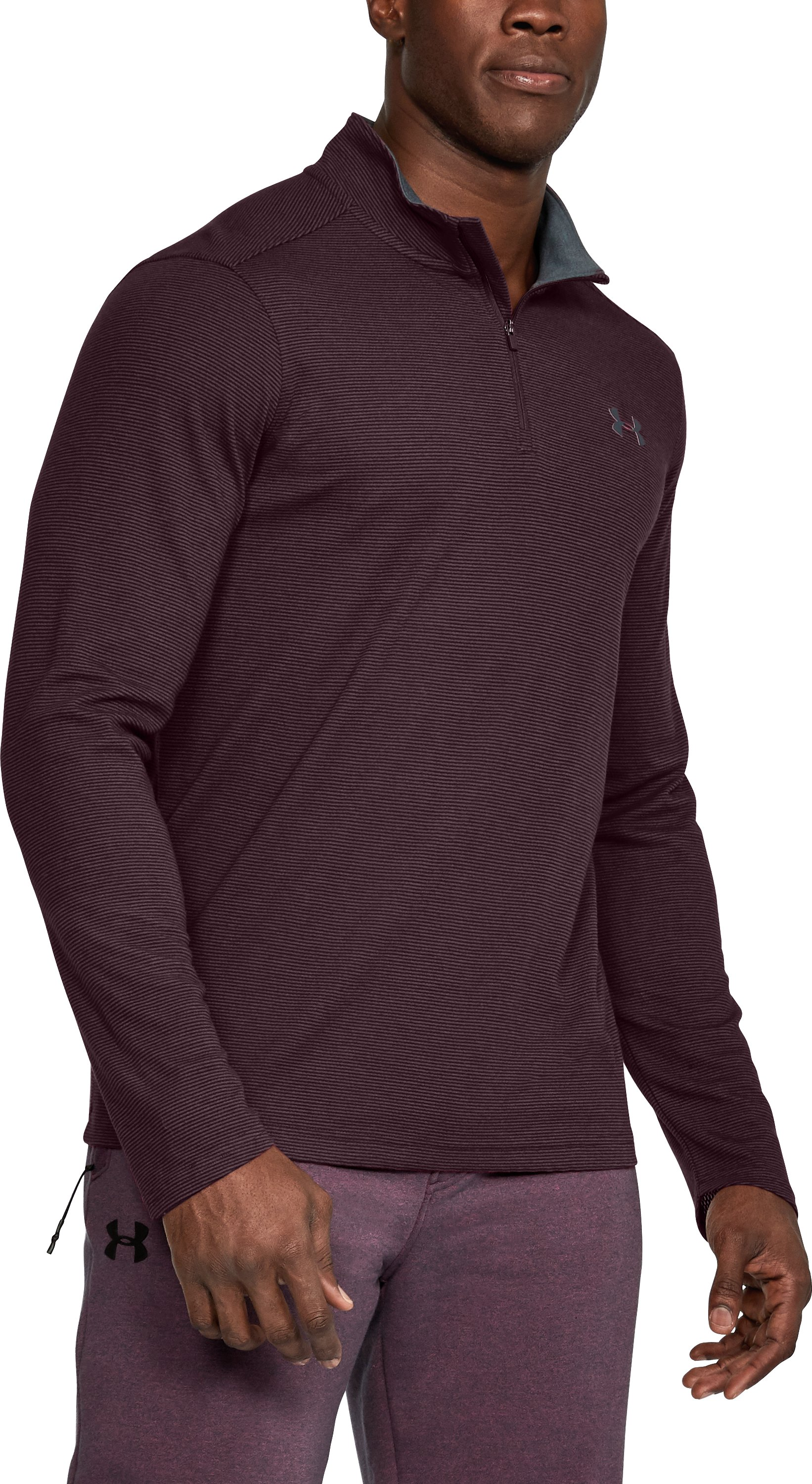 Men's UA ColdGear® Infrared Lightweight ¼ Zip, RAISIN RED, undefined