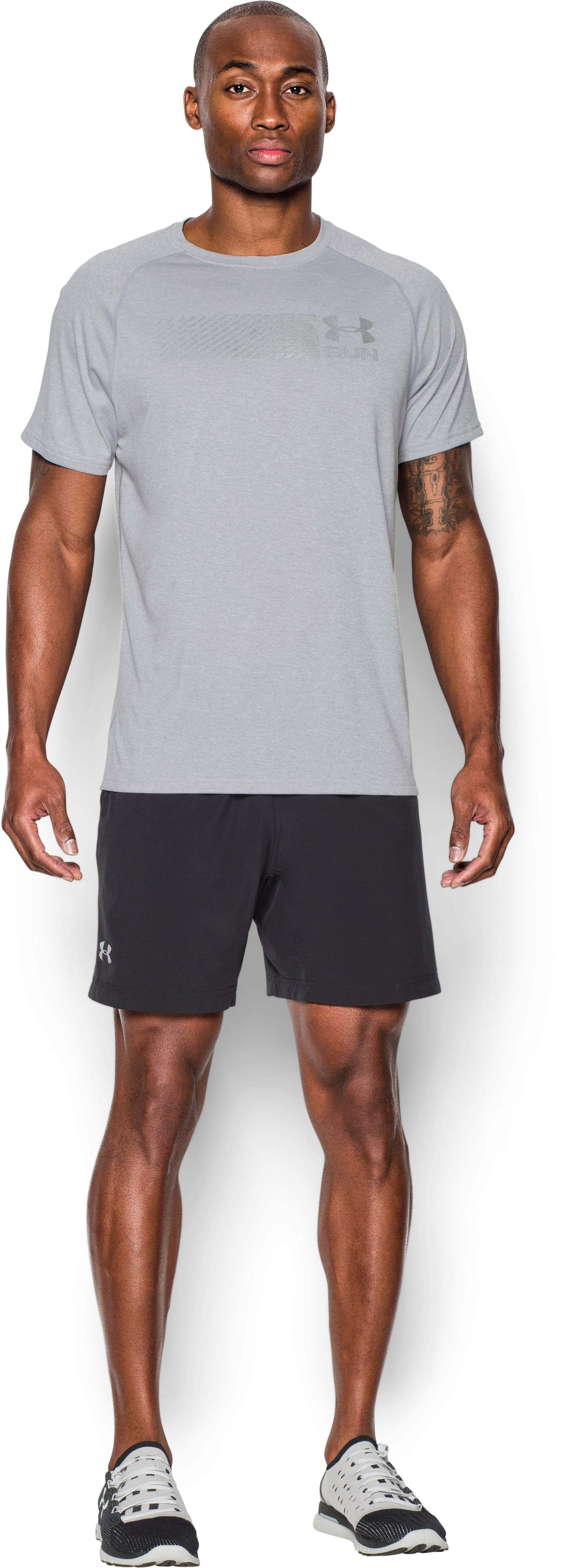 Men's UA Run T-Shirt, AIR FORCE GRAY HEATHER, Front