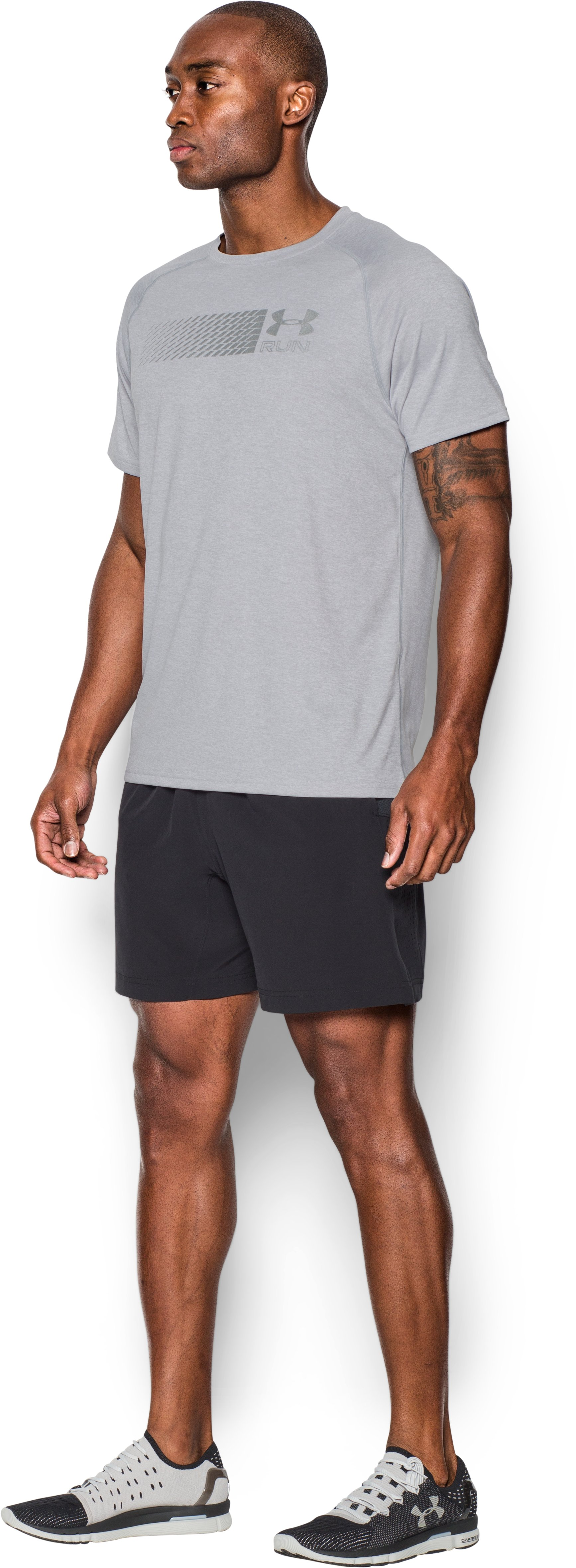 Men's UA Run T-Shirt, AIR FORCE GRAY HEATHER,