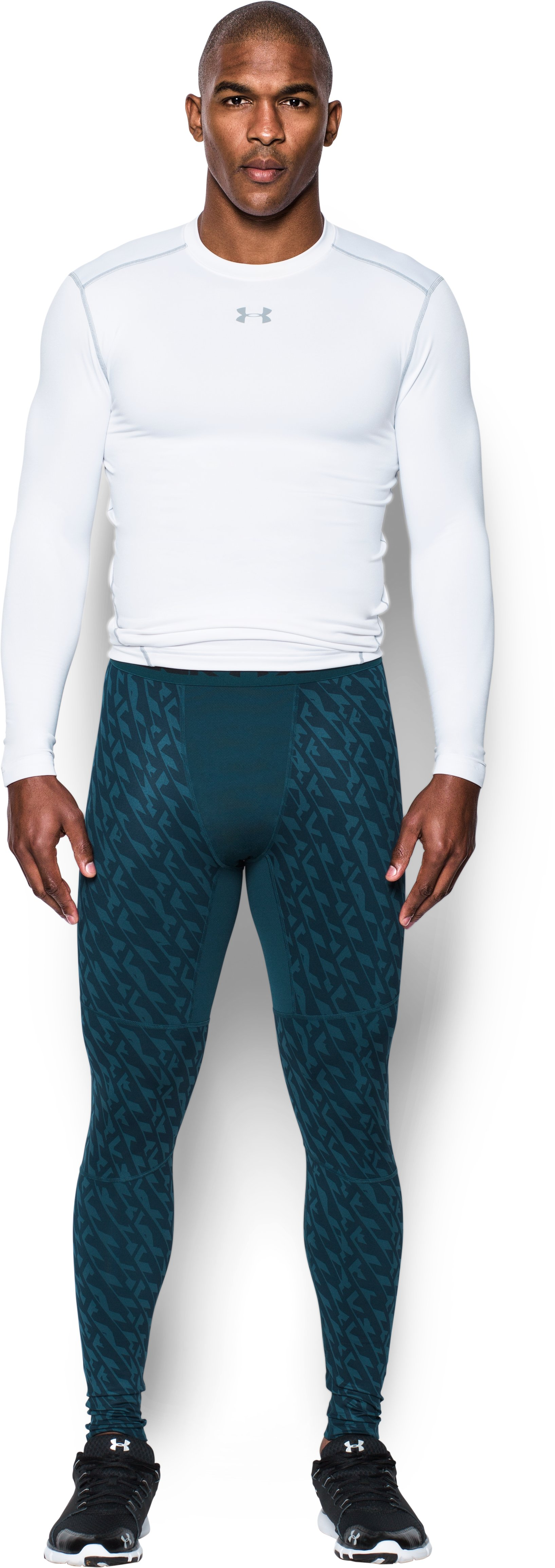 Men's UA ColdGear® Armour Printed Compression Leggings, NOVA TEAL, Front