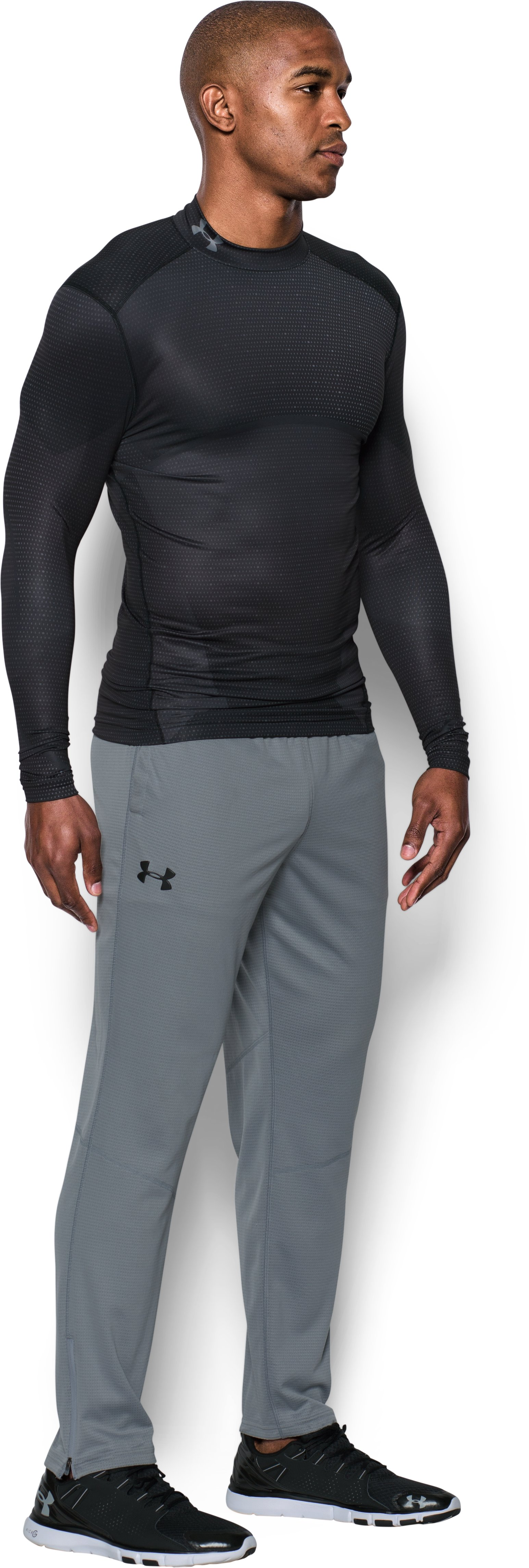 Men's UA ColdGear® Armour Sublimated Compression Mock, Black , undefined